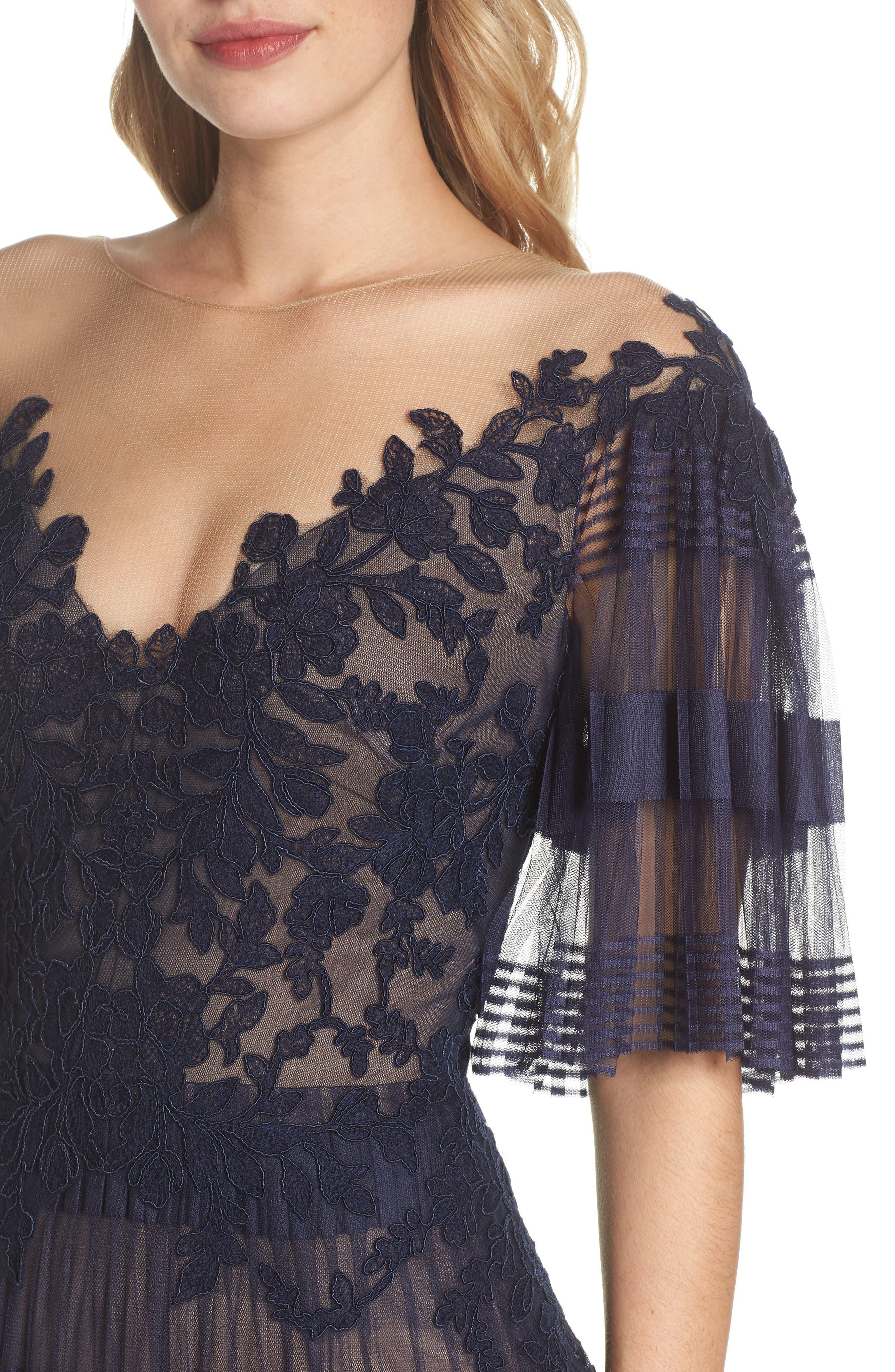 Illusion V-Neck Lace Gown,                             Alternate thumbnail 4, color,                             410
