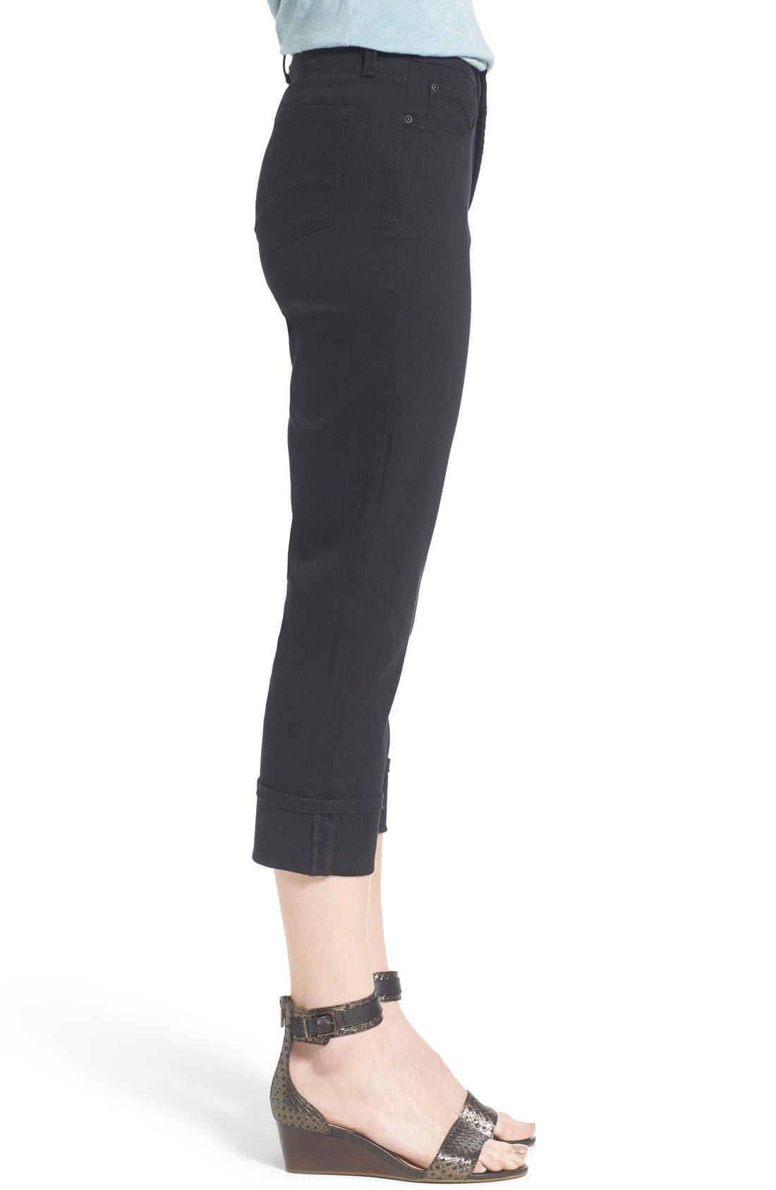 'Dayla' Colored Wide Cuff Capri Jeans,                             Alternate thumbnail 4, color,                             001