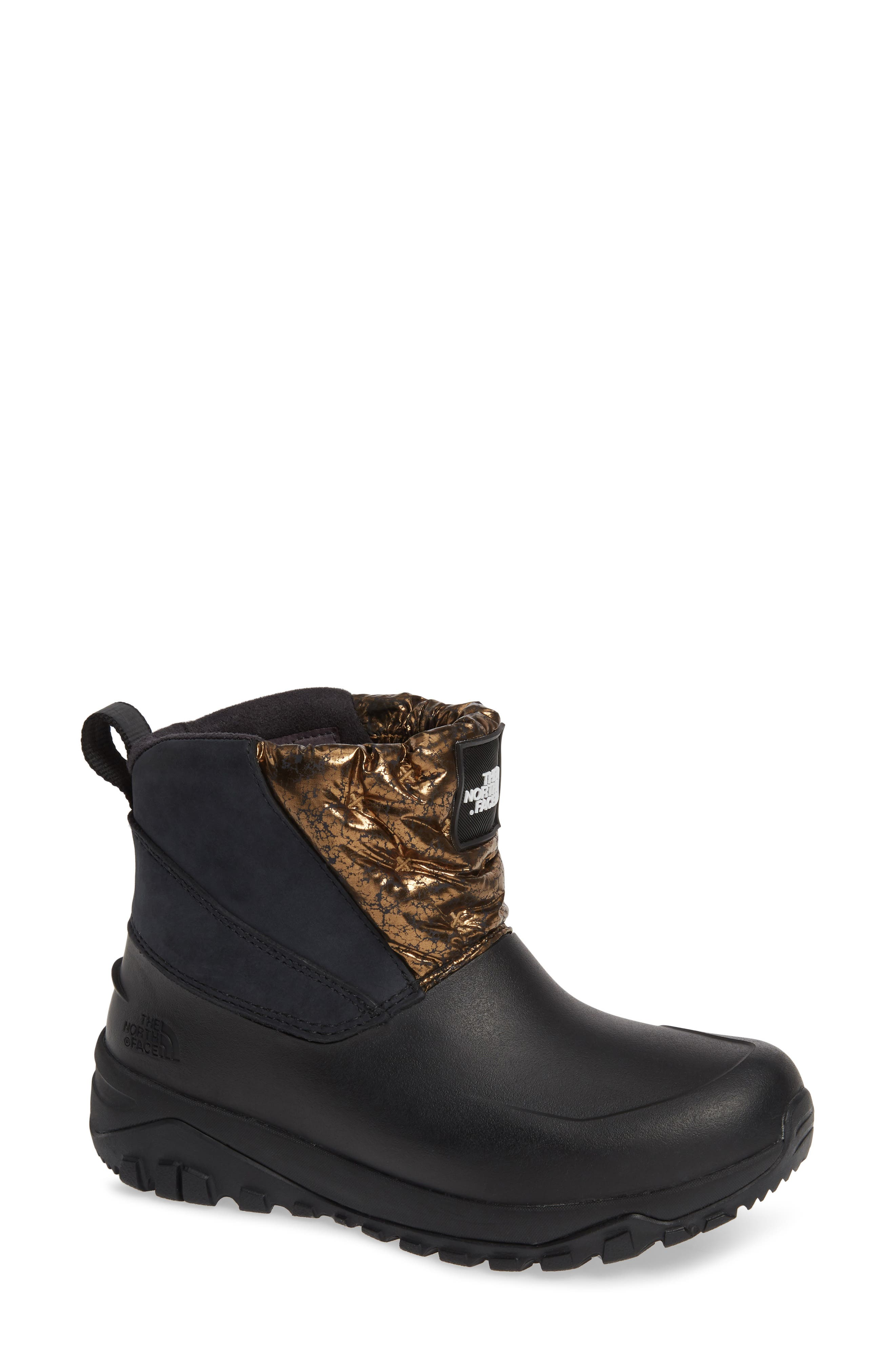 Yukiona Waterproof Ankle Boot,                             Main thumbnail 1, color,                             BLACK/ METALLIC COPPER