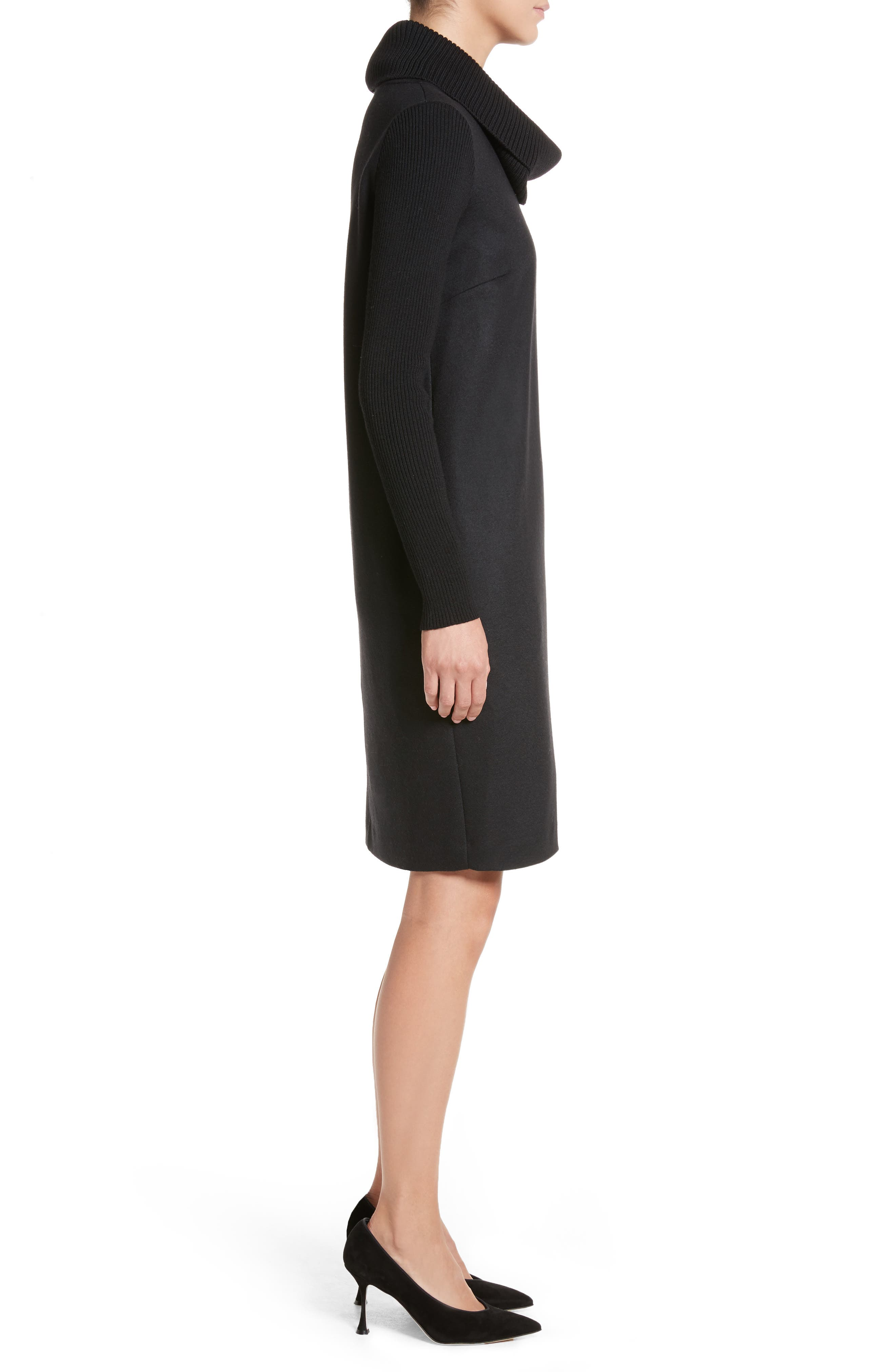 Cancan Wool Jersey Dress with Removable Knit Cowl,                             Alternate thumbnail 3, color,                             001