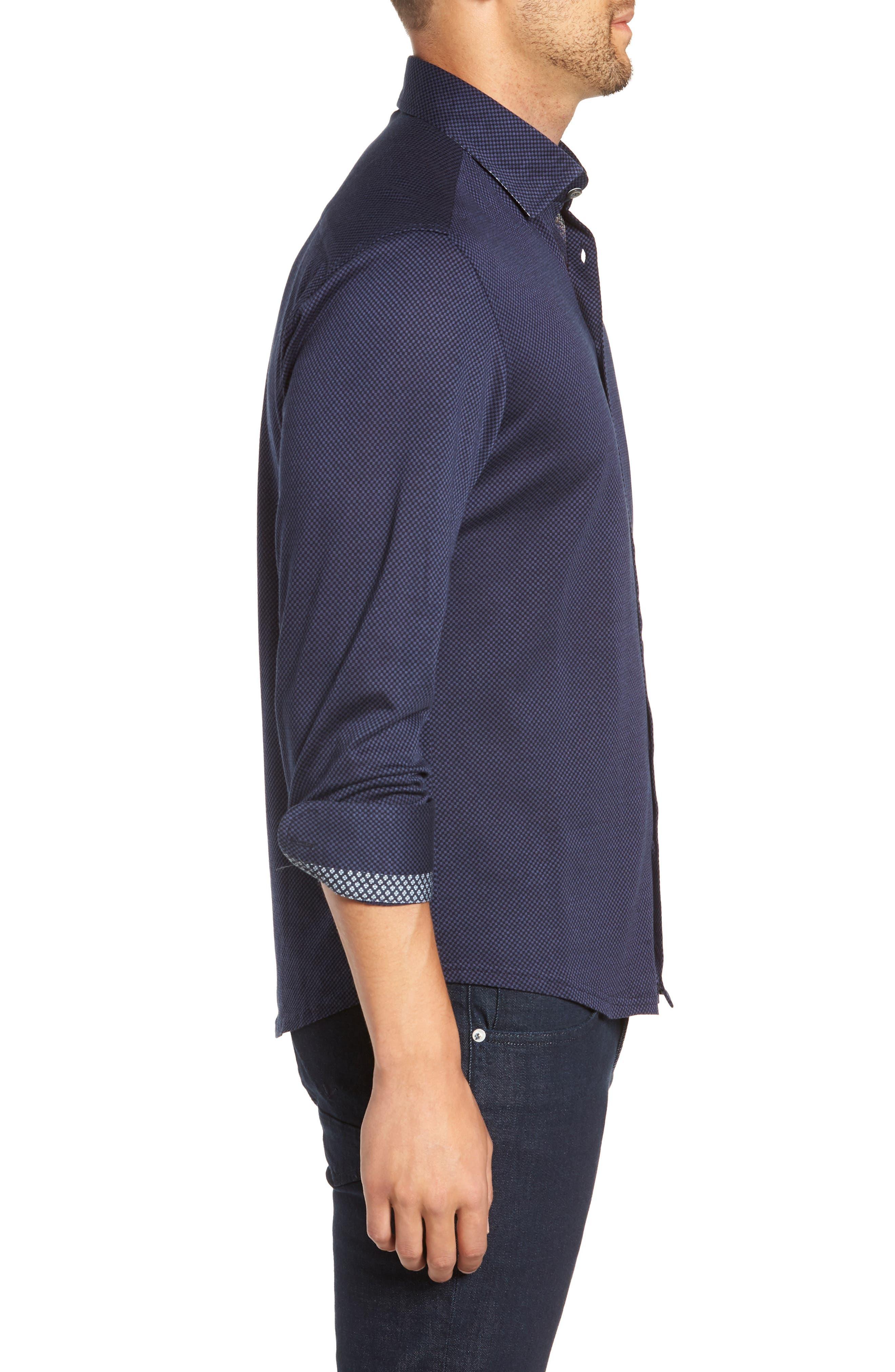 STONE ROSE,                             Trim Fit Knit Sport Shirt,                             Alternate thumbnail 4, color,                             410