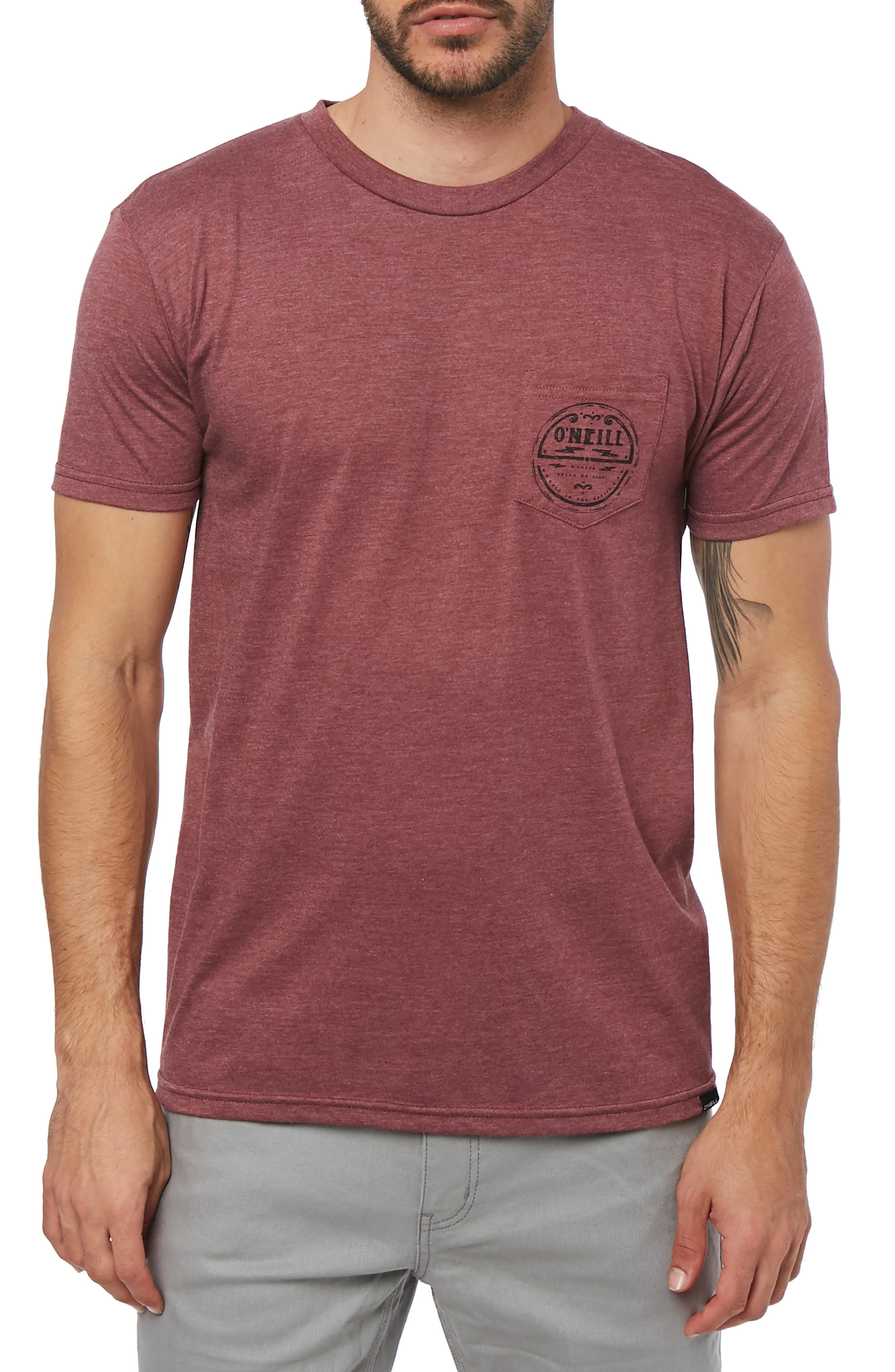 Record Graphic Pocket T-Shirt,                         Main,                         color, BURGUNDY HEATHER