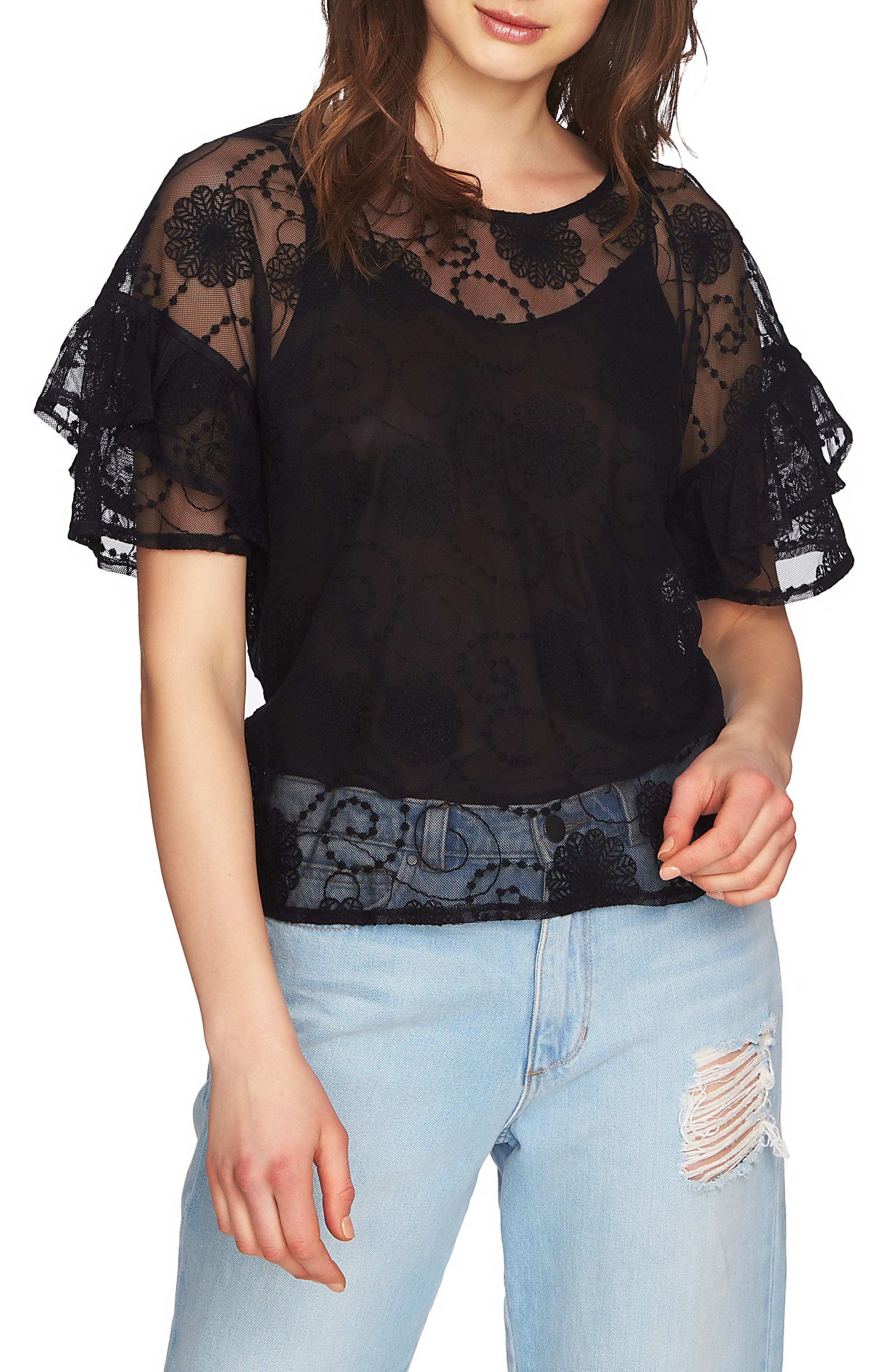 Embroidered Ruffle Sleeve Top,                             Main thumbnail 1, color,                             006