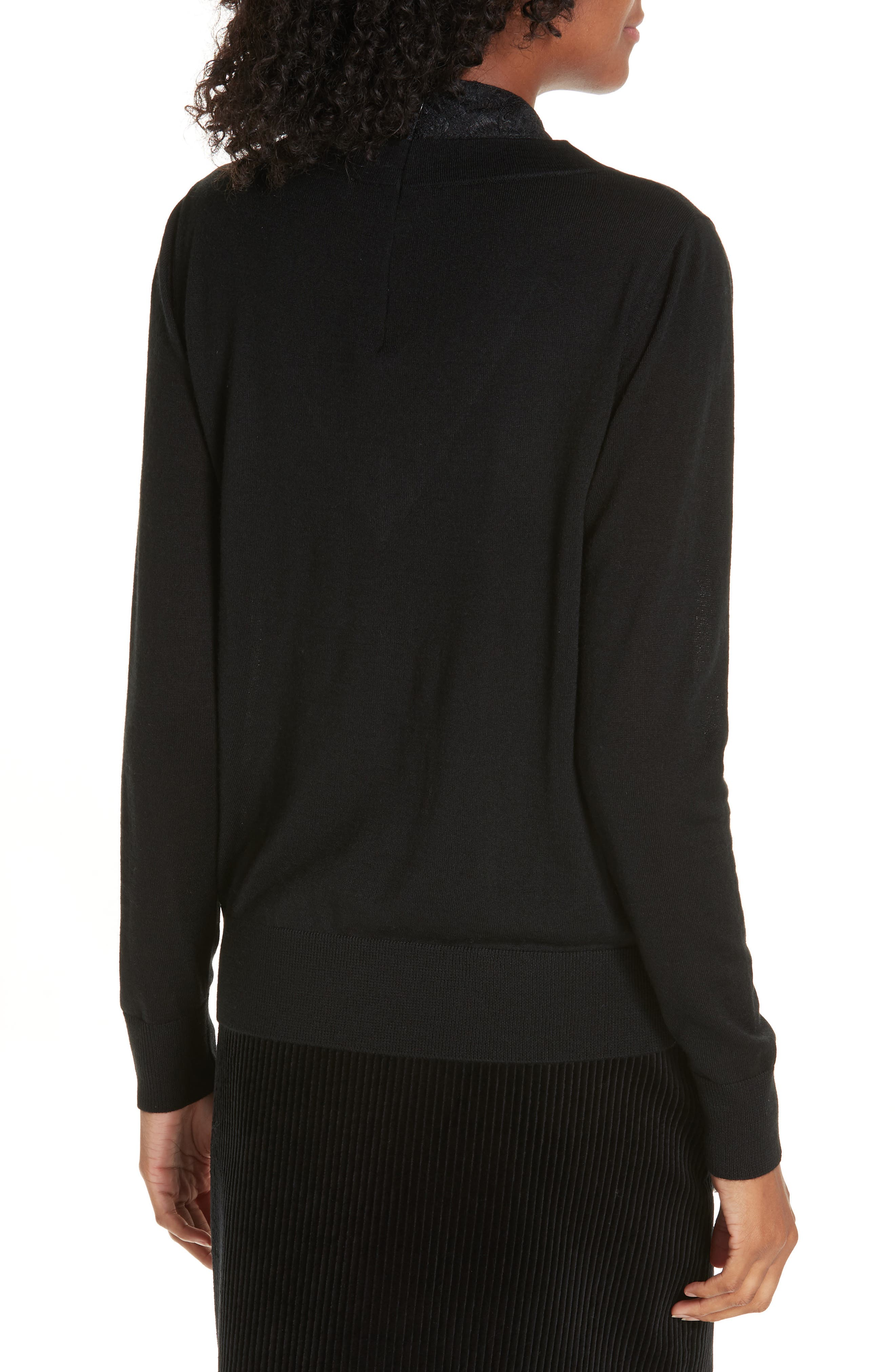 Lace Tie Neck Sweater,                             Alternate thumbnail 2, color,                             001