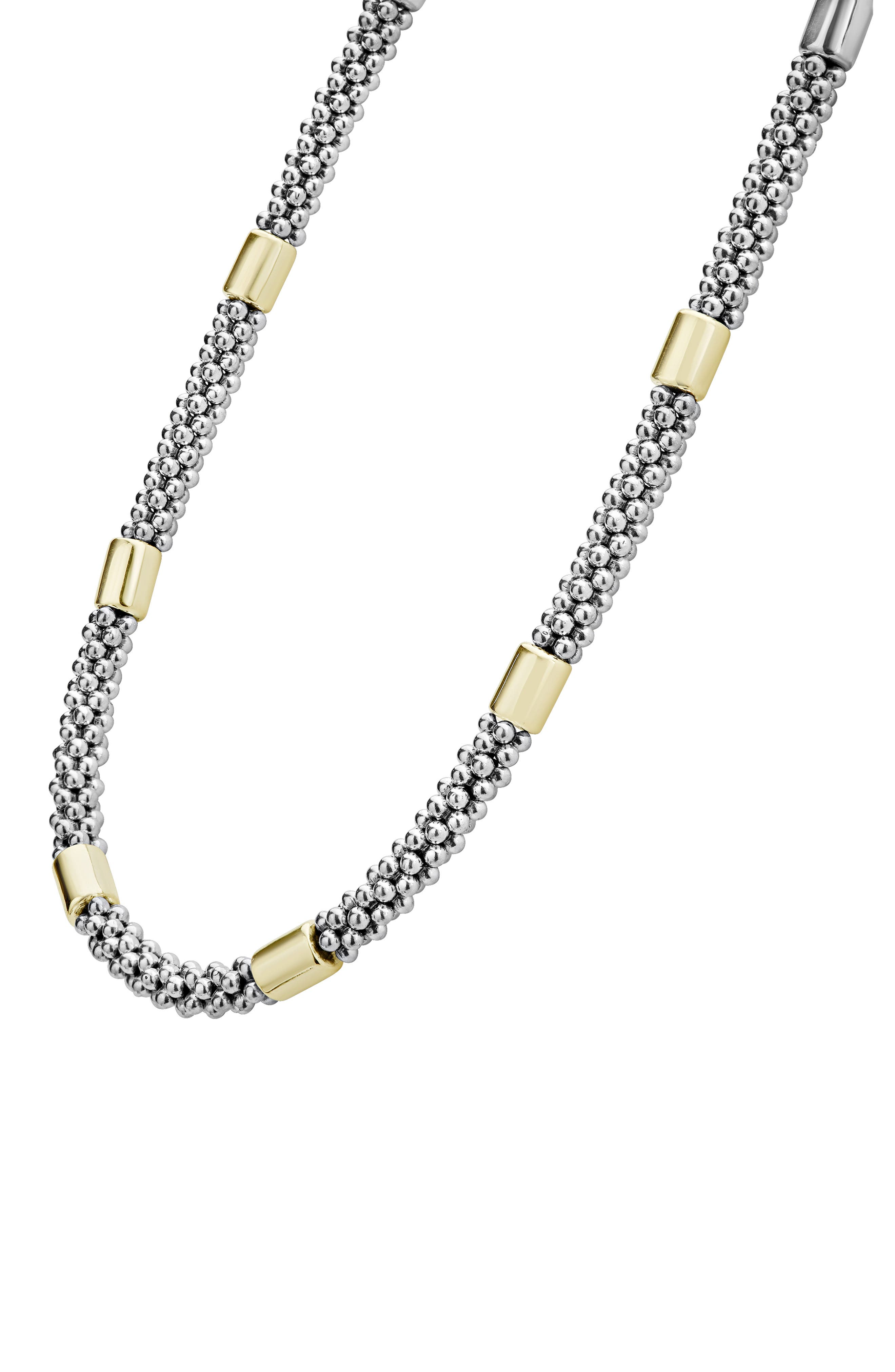 Caviar Rope Collar Necklace,                             Alternate thumbnail 4, color,                             SILVER/ GOLD
