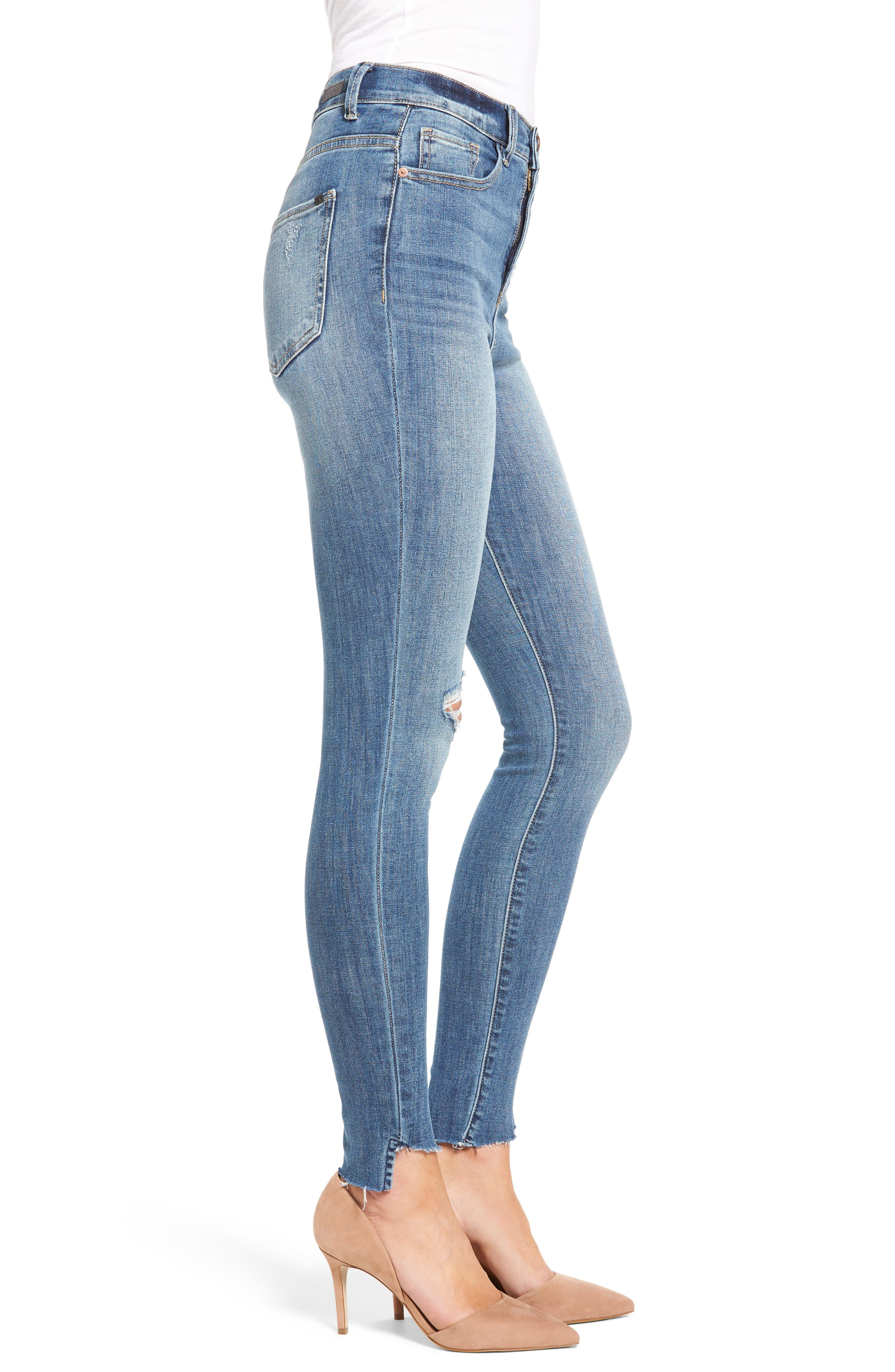 Decon Raw Edge High Waist Skinny Jeans,                             Alternate thumbnail 3, color,                             420