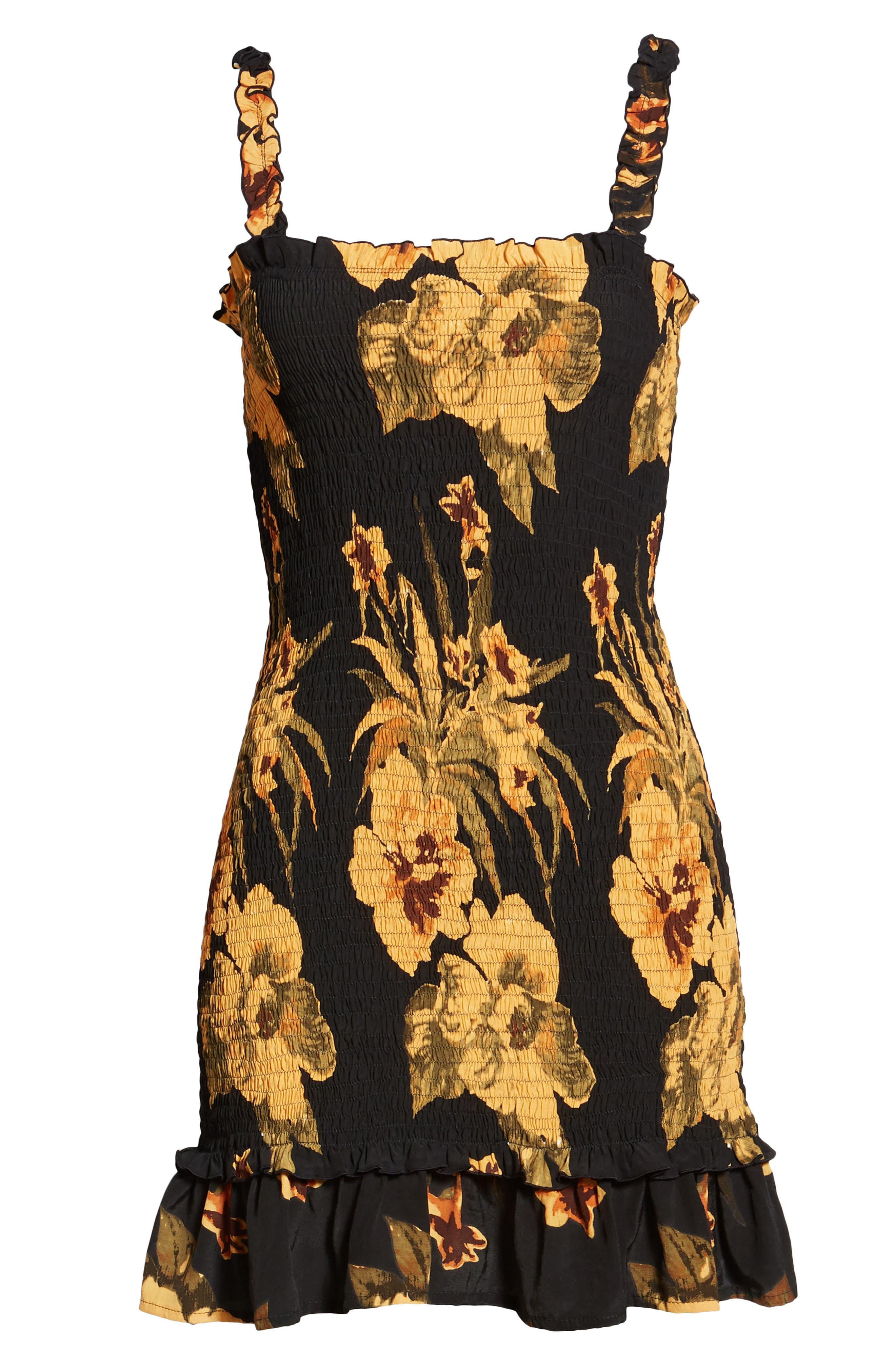 Del Mar Smocked Dress,                             Alternate thumbnail 4, color,                             CARIBBEAN PRINT
