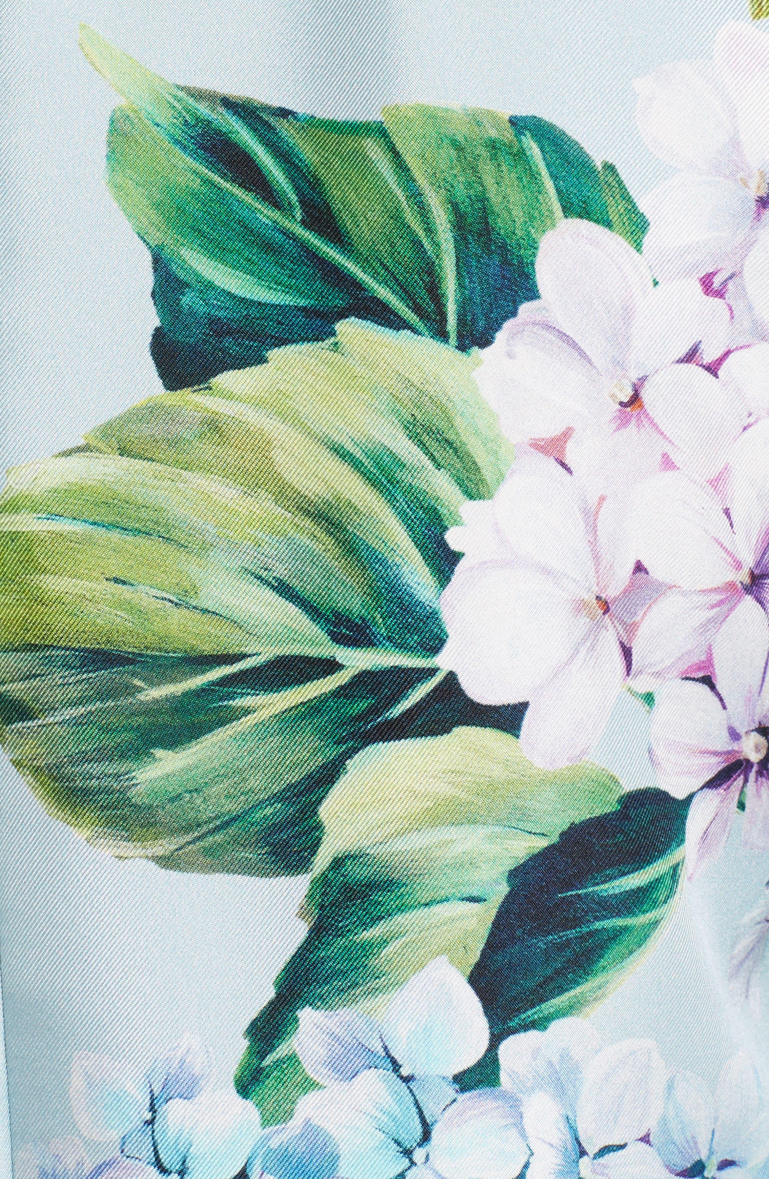 Hydrangea Print Silk Shift Dress,                             Alternate thumbnail 5, color,