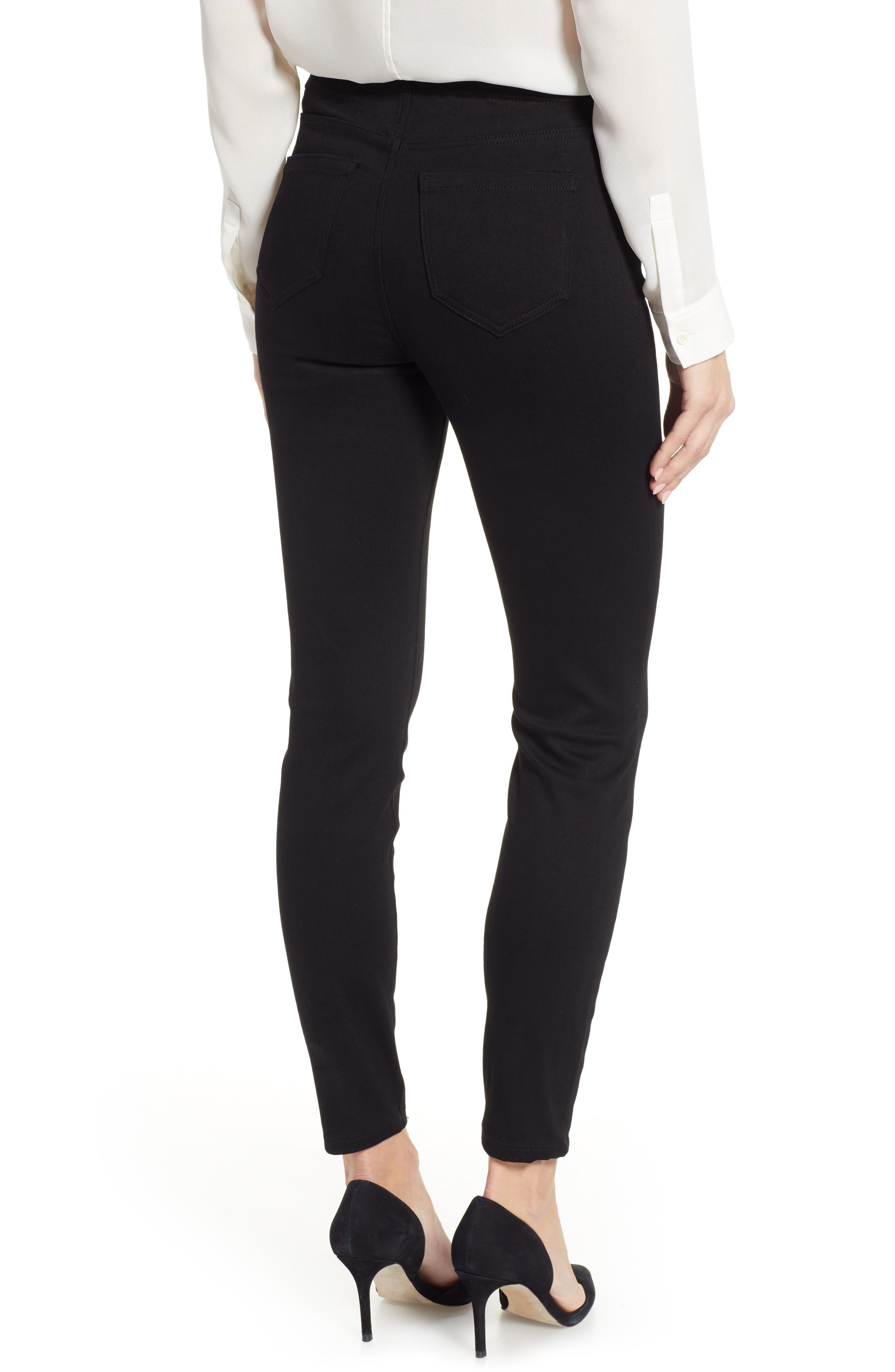 Chloe Pull-On Stretch Skinny Ankle Jeans,                             Alternate thumbnail 2, color,                             BLACK RINSE