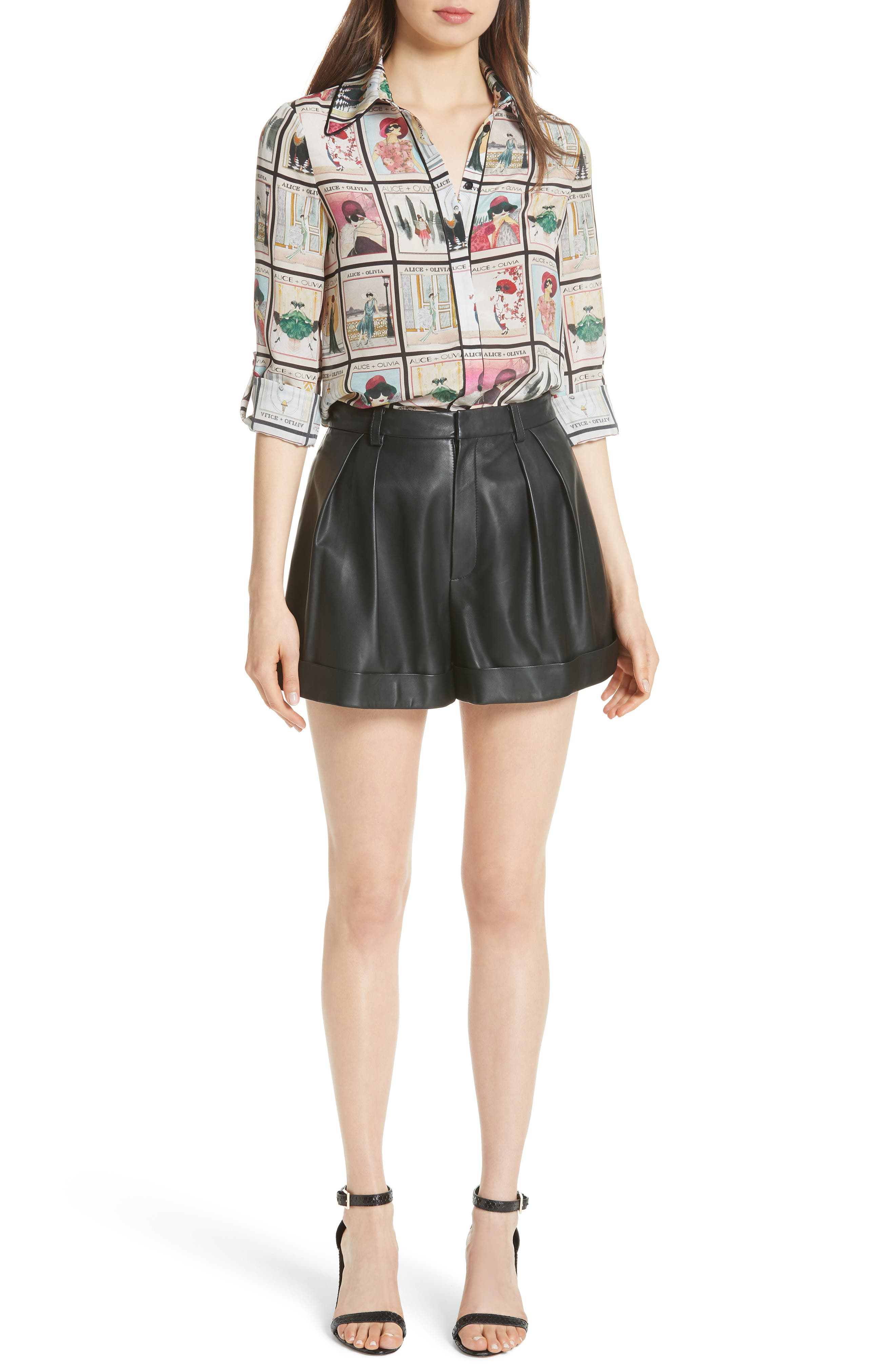 Conry Leather Pleated Cuff Shorts,                             Alternate thumbnail 7, color,                             BLACK