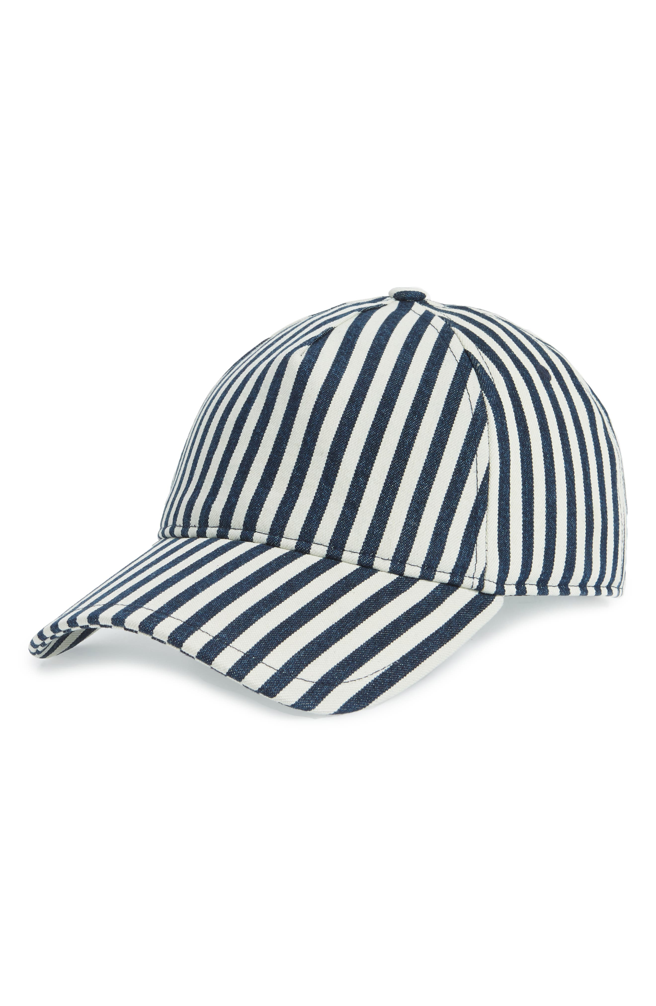 Marilyn Baseball Cap,                         Main,                         color, NAVY/ NATURAL STRIPE