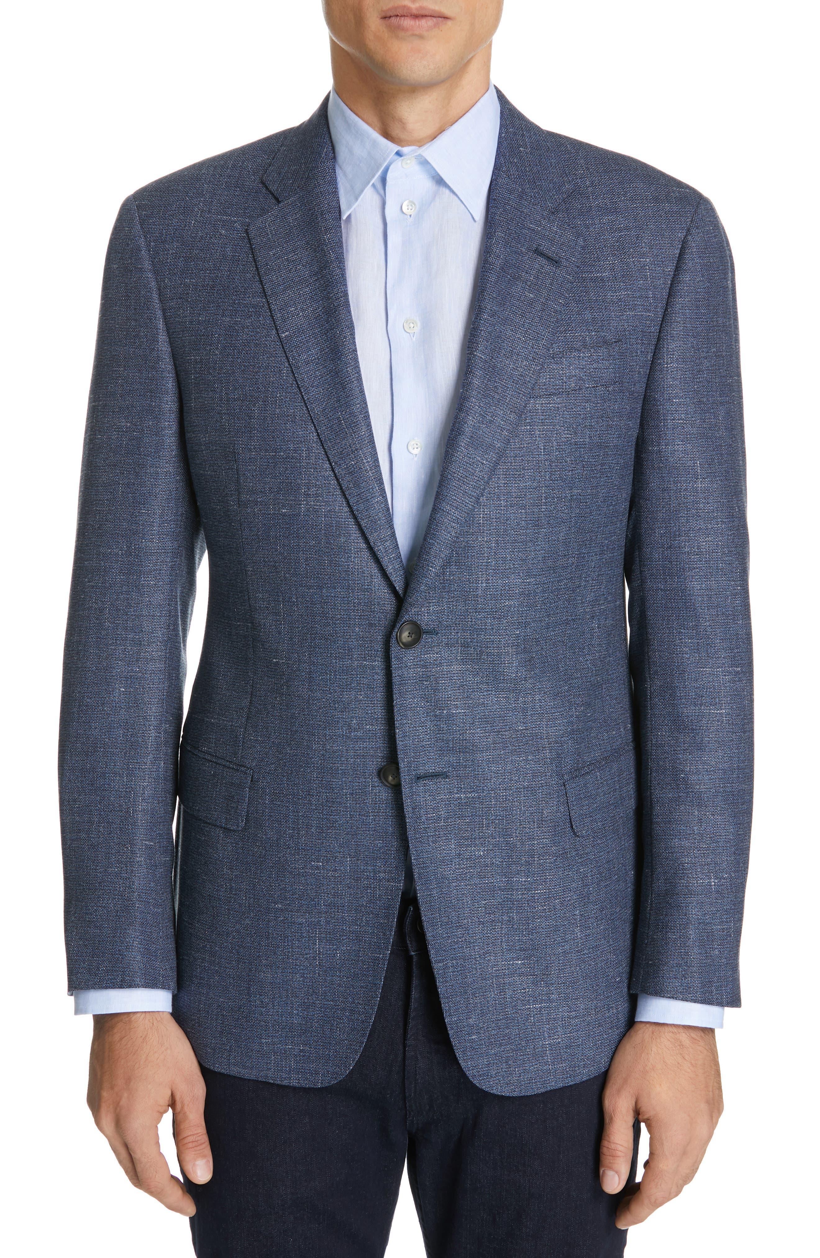 Trim Fit Wool Blend Sport Coat, Main, color, FANCY BLUE