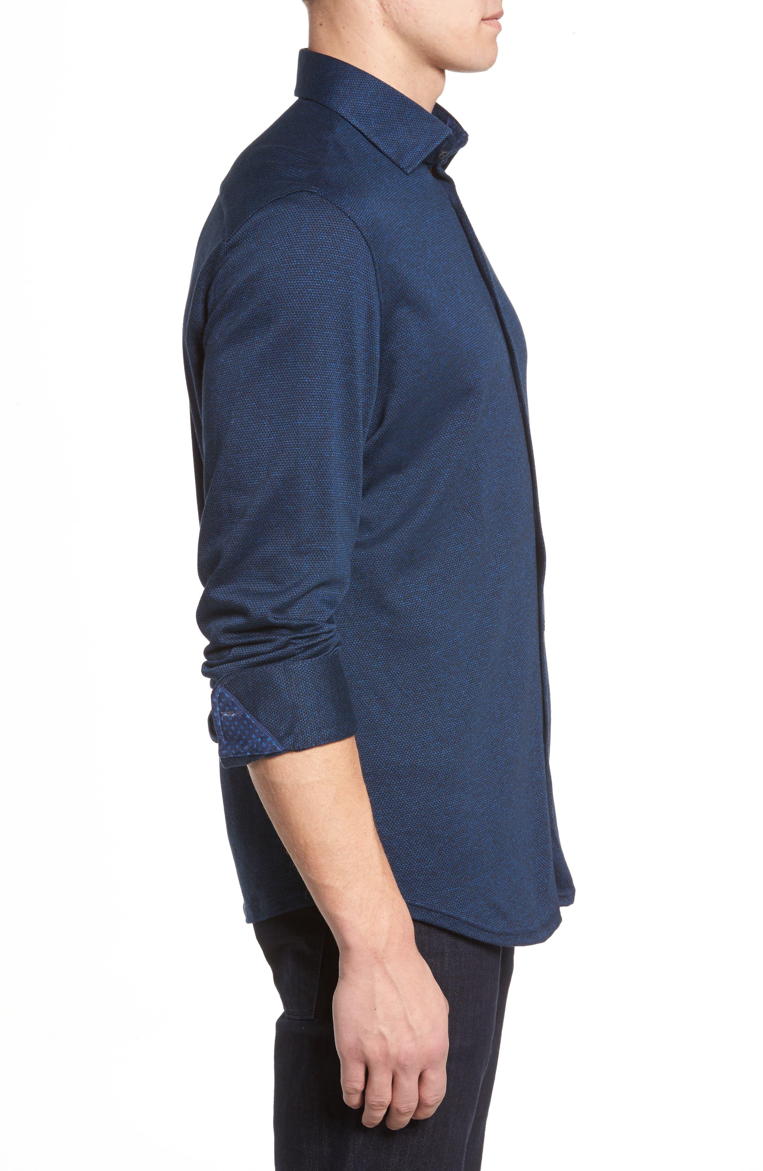 Slim Fit Diamond Jacquard Knit Sport Shirt,                             Alternate thumbnail 3, color,                             NAVY