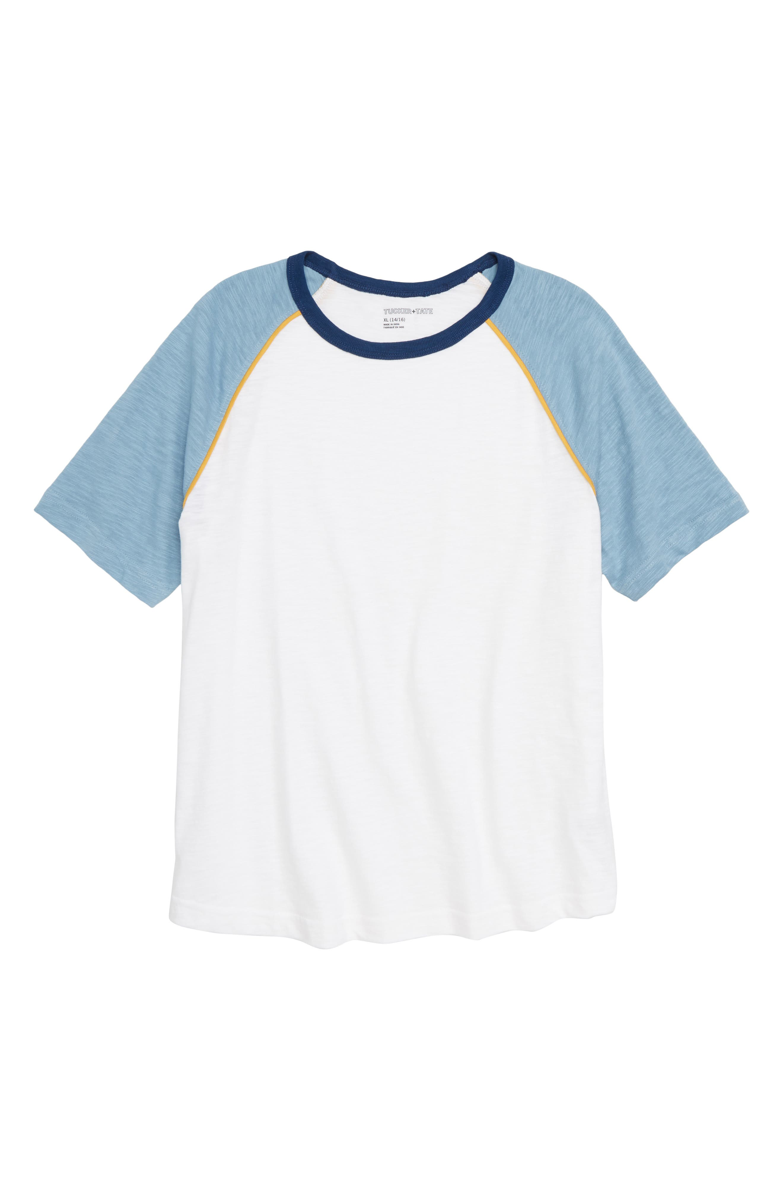 Slub Baseball T-Shirt,                         Main,                         color, WHITE- BLUE