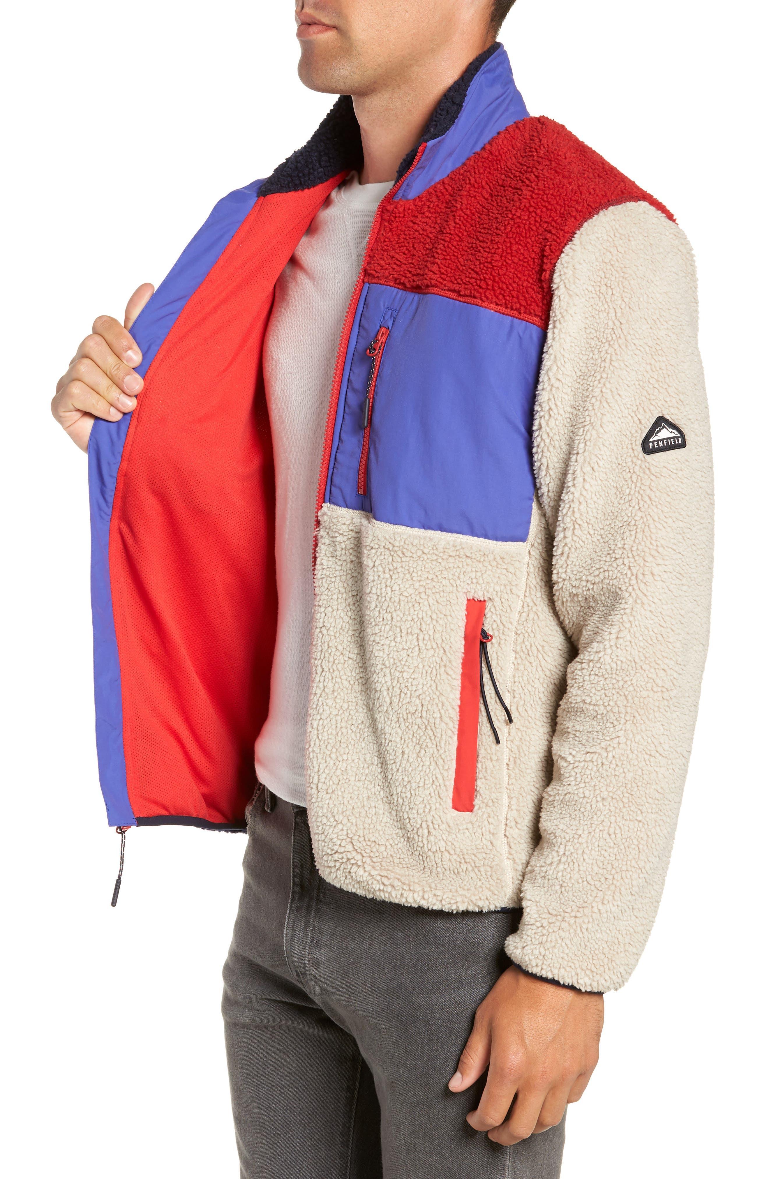 Mattawa Colorblock Fleece Zip Jacket,                             Alternate thumbnail 3, color,                             TAN