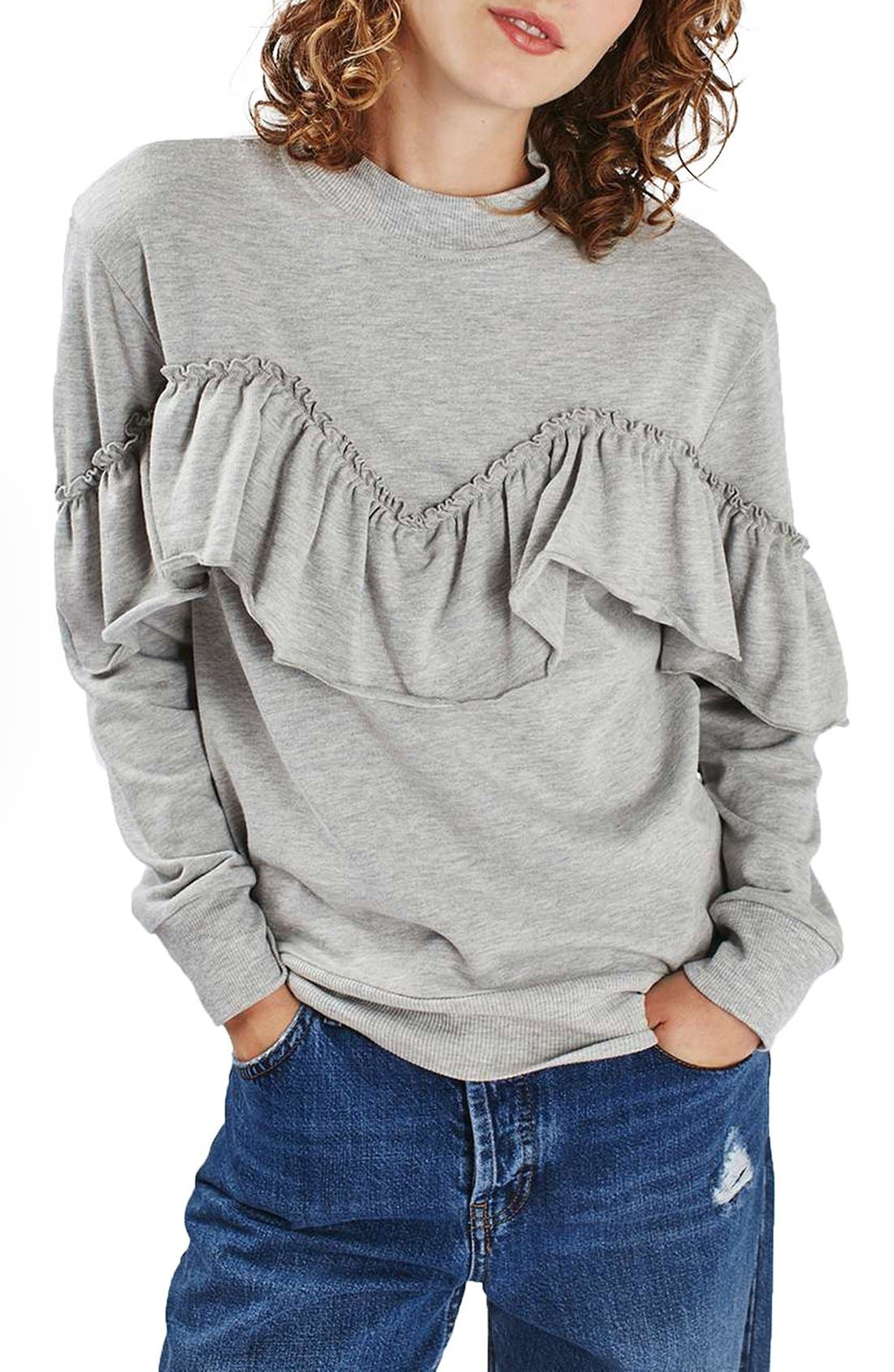 Jersey Ruffle Sweatshirt, Main, color, 020