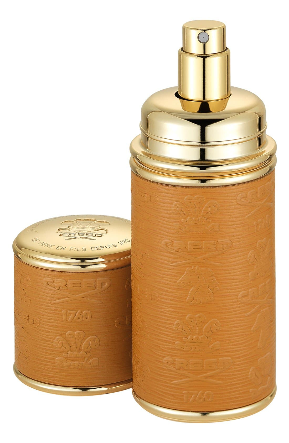 Camel with Gold Trim Leather Atomizer,                             Main thumbnail 1, color,                             NO COLOR