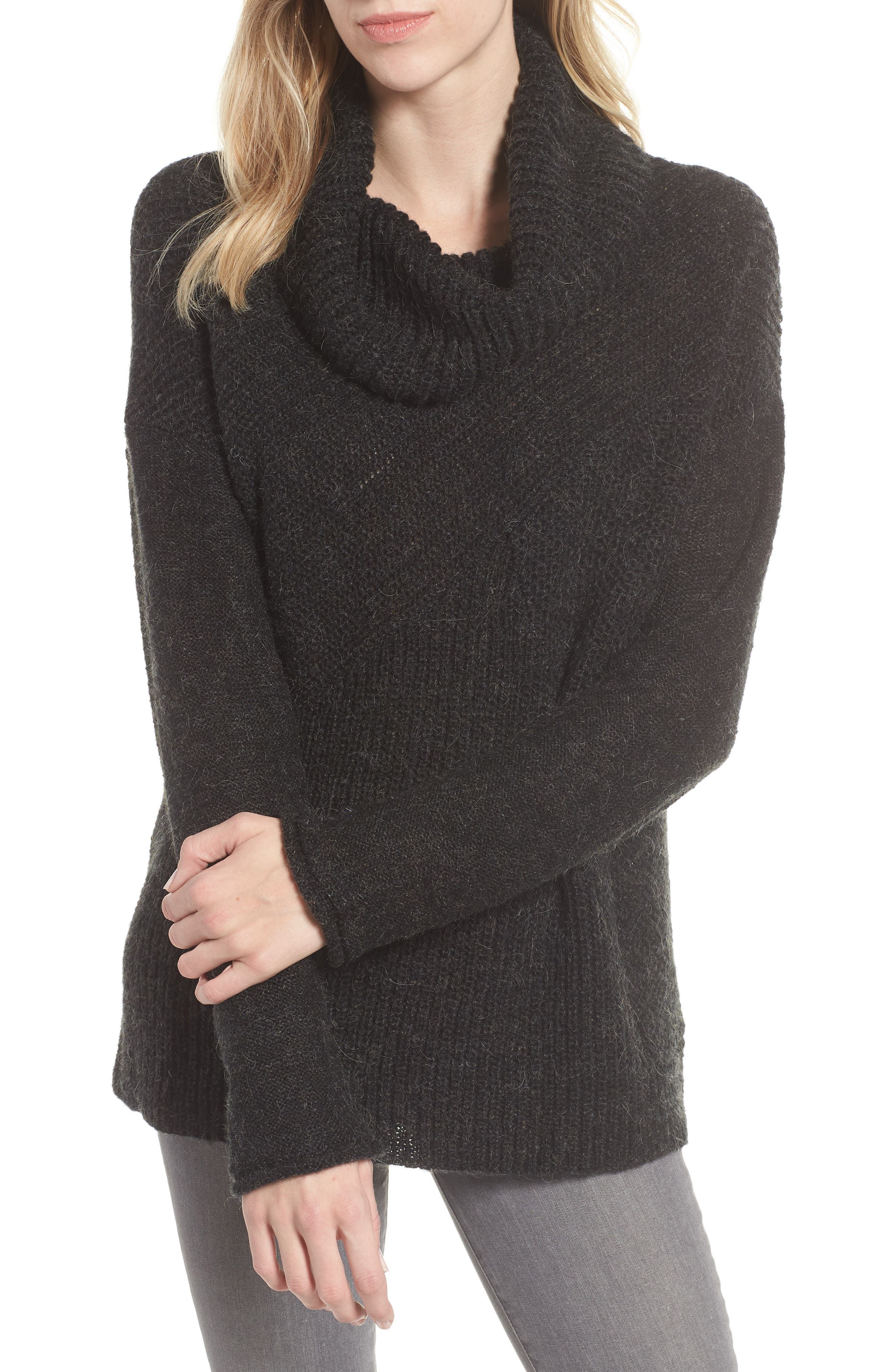 Mix Stitch Funnel Neck Wool Blend Sweater,                         Main,                         color, 001