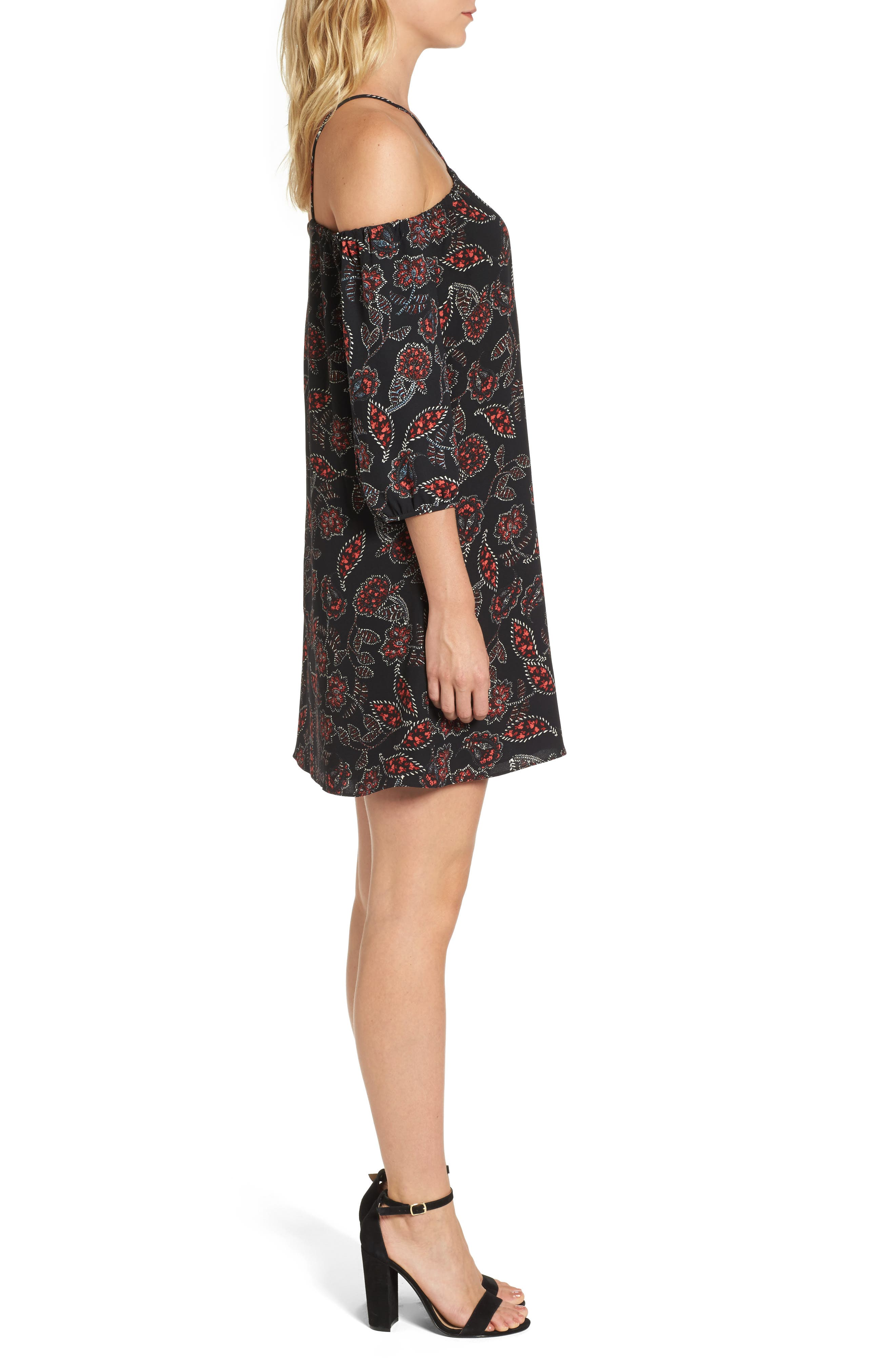 Ellinor Cold Shoulder Dress,                             Alternate thumbnail 3, color,                             001