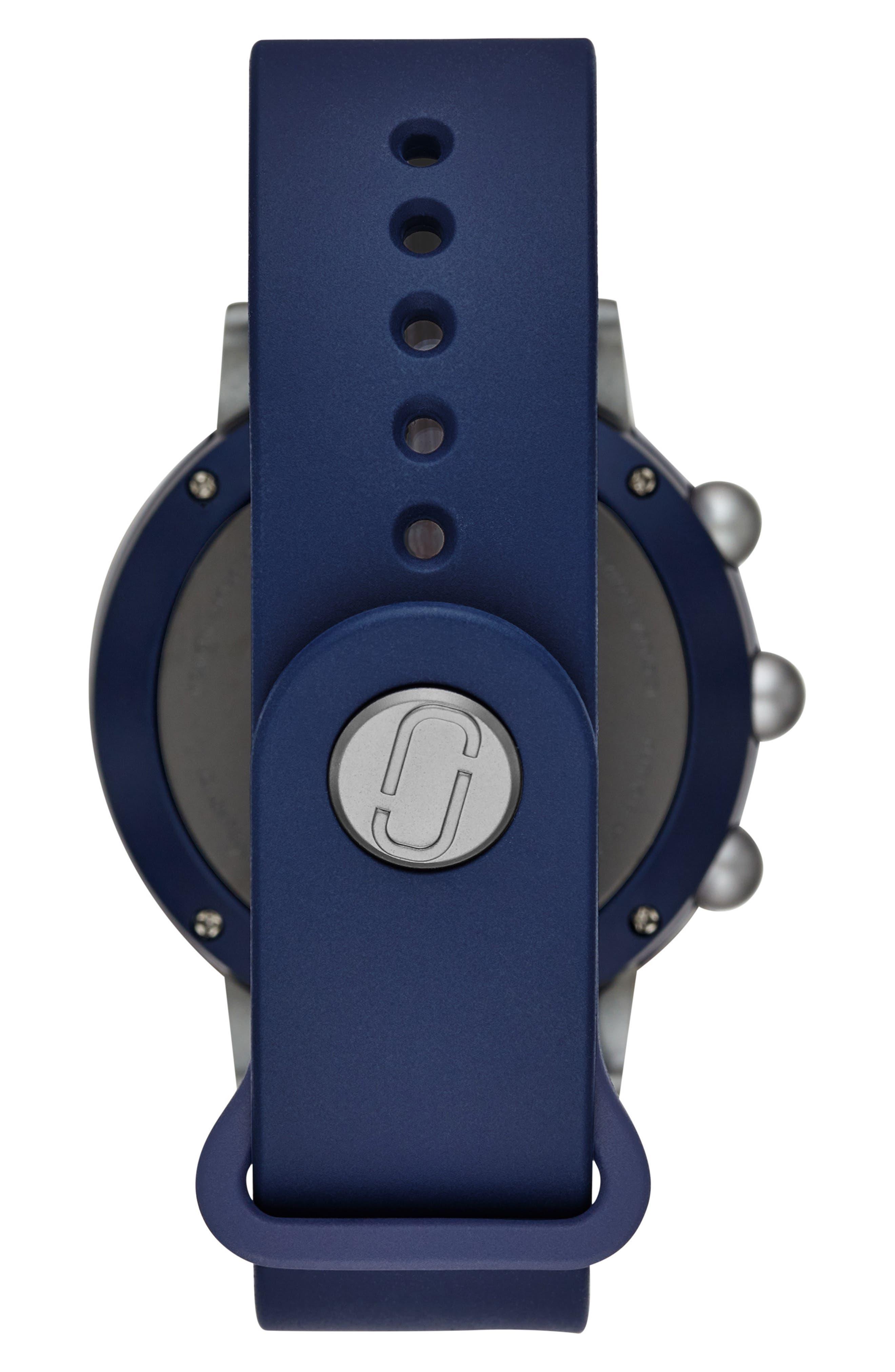 Riley Hybrid Rubber Strap Smart Watch, 44mm,                             Alternate thumbnail 2, color,                             NAVY/ BLACK/ NAVY
