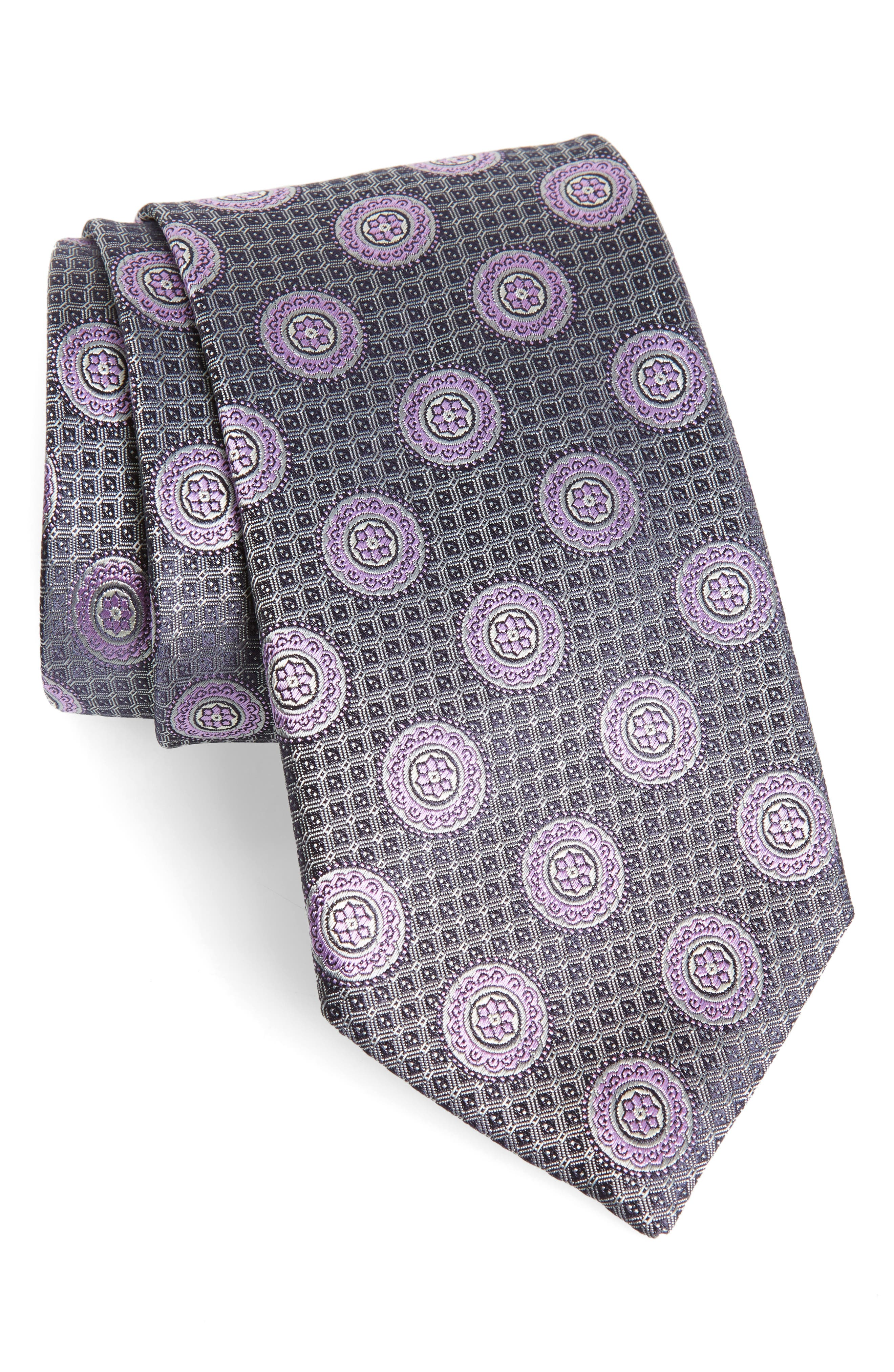 Medallion Silk Tie,                             Main thumbnail 1, color,                             SILVER