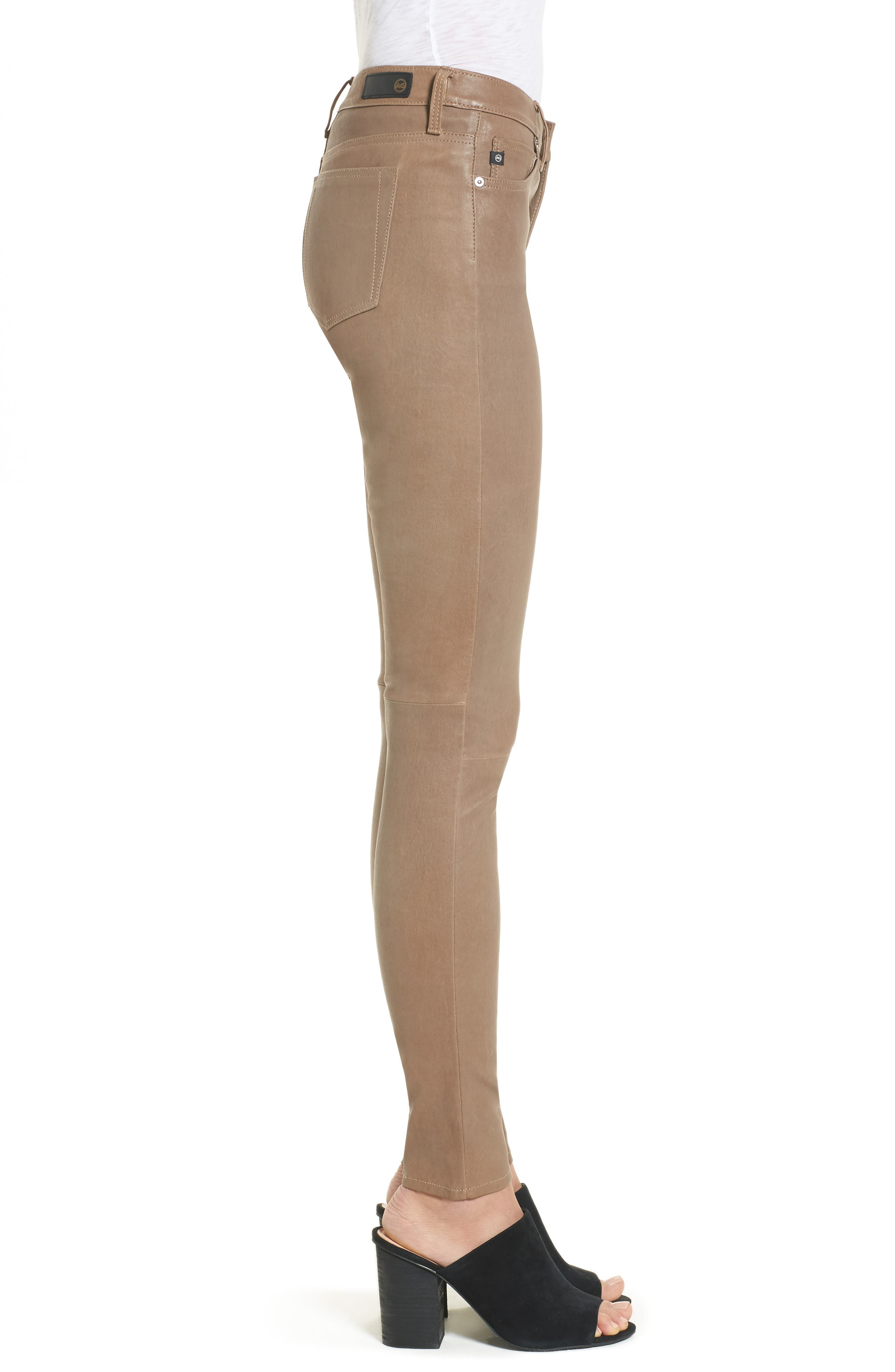The Legging Super Skinny Leather Pants,                             Alternate thumbnail 3, color,                             RUSTIC TAUPE