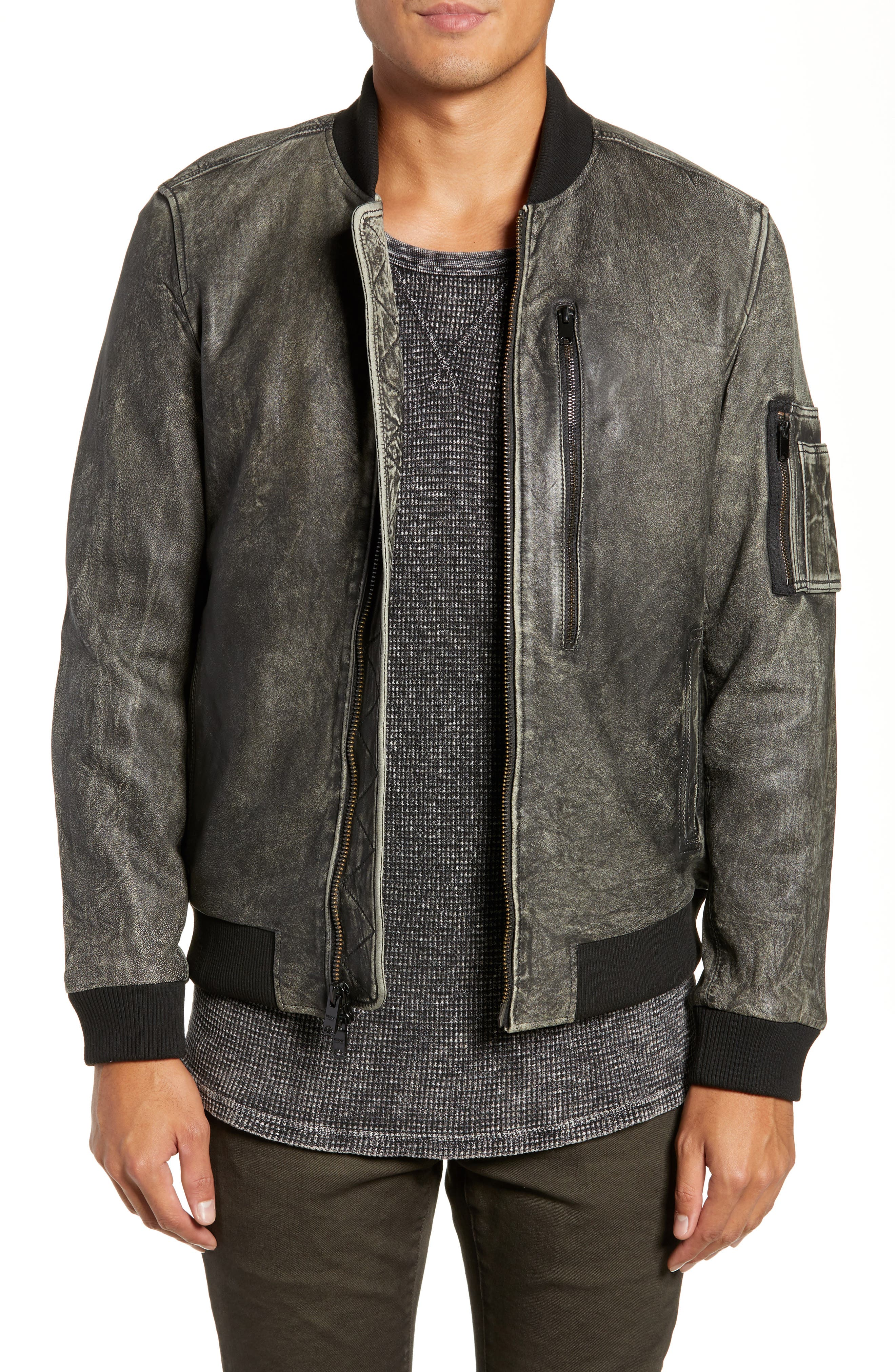 Hudson Leather Bomber Jacket, Main, color, 063