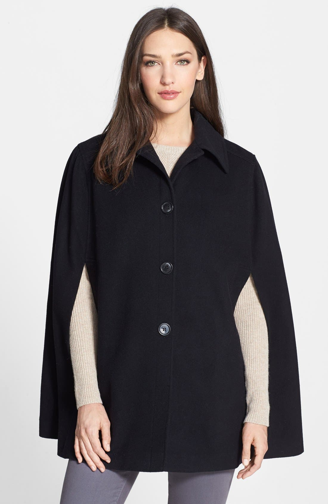 Wool Blend Cape,                         Main,                         color, 001
