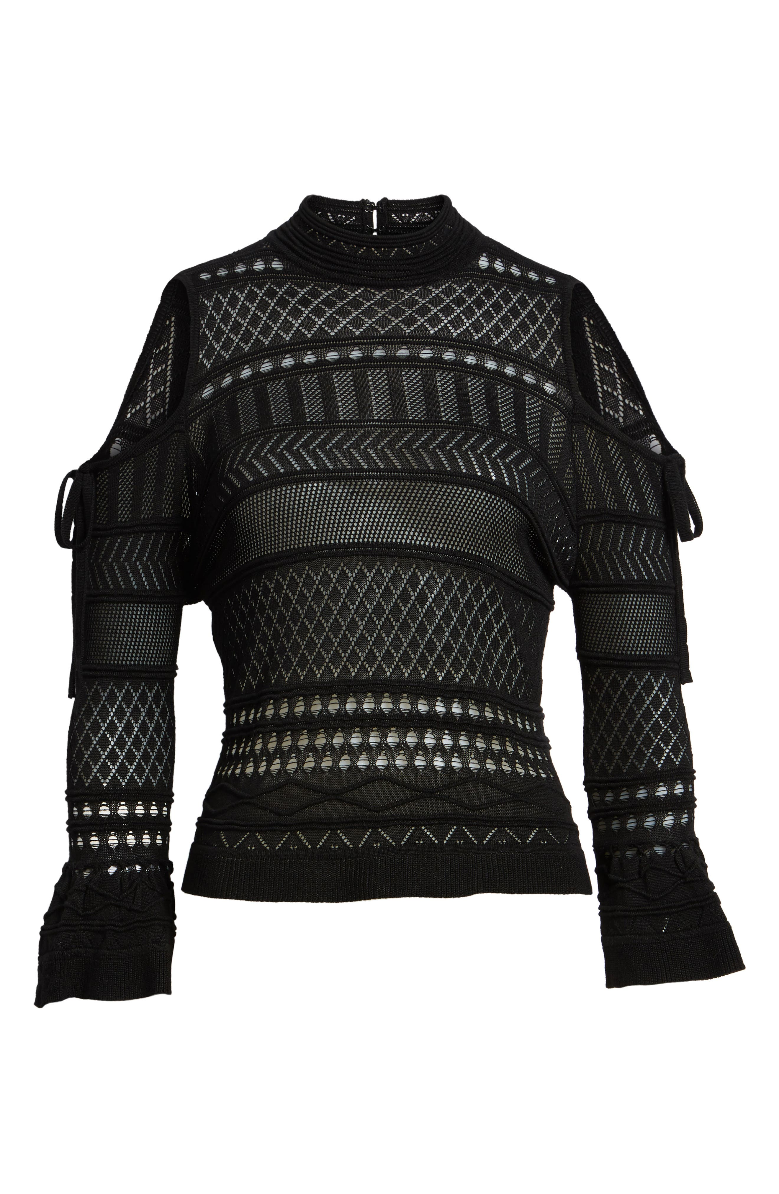 Annabel Cold Shoulder Pointelle Sweater,                             Alternate thumbnail 6, color,                             001