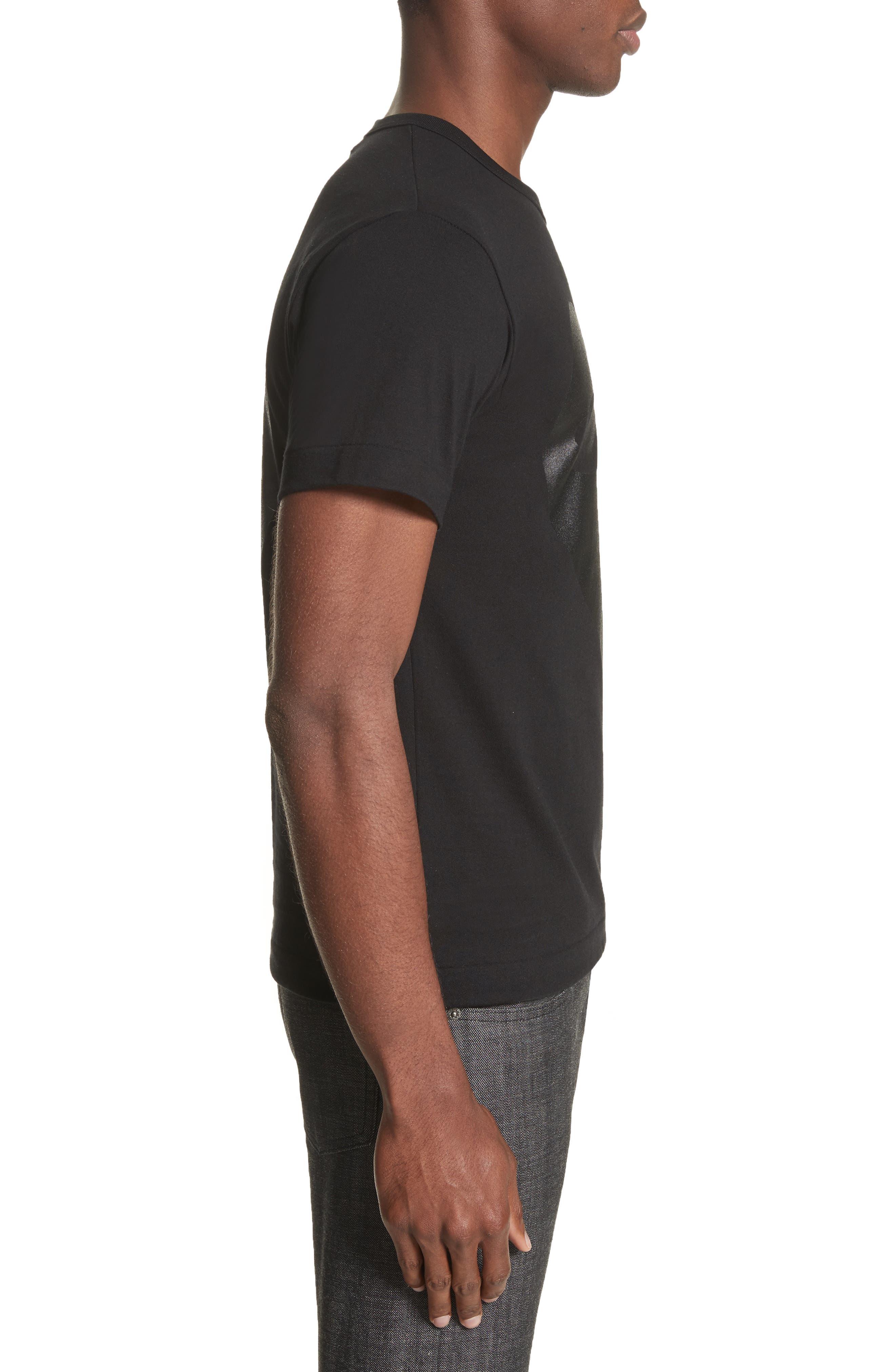 COMME DES GARÇONS PLAY,                             Graphic T-Shirt,                             Alternate thumbnail 3, color,                             BLACK