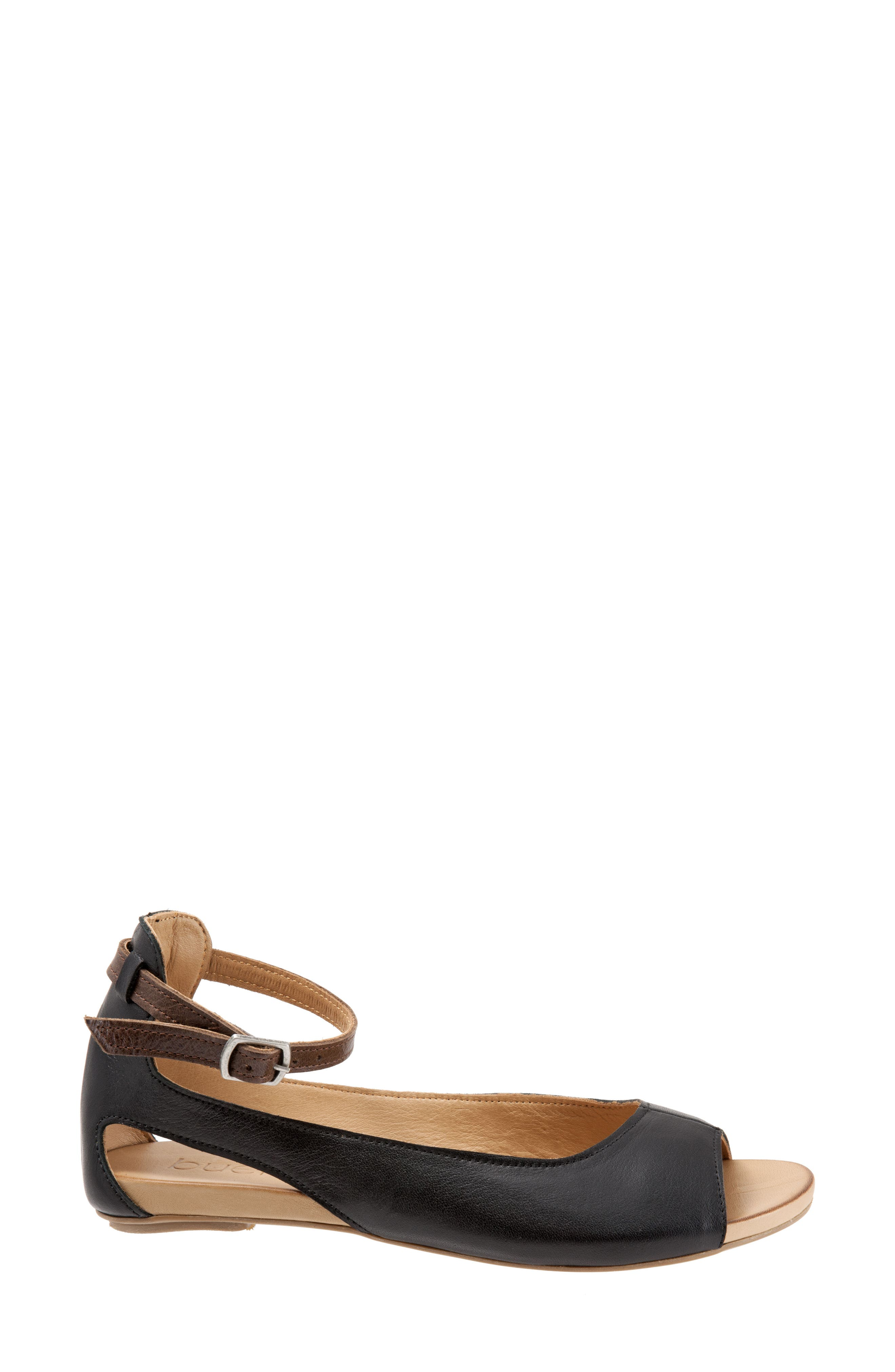 Donna Ankle Strap Sandal,                             Alternate thumbnail 3, color,                             BLACK LEATHER