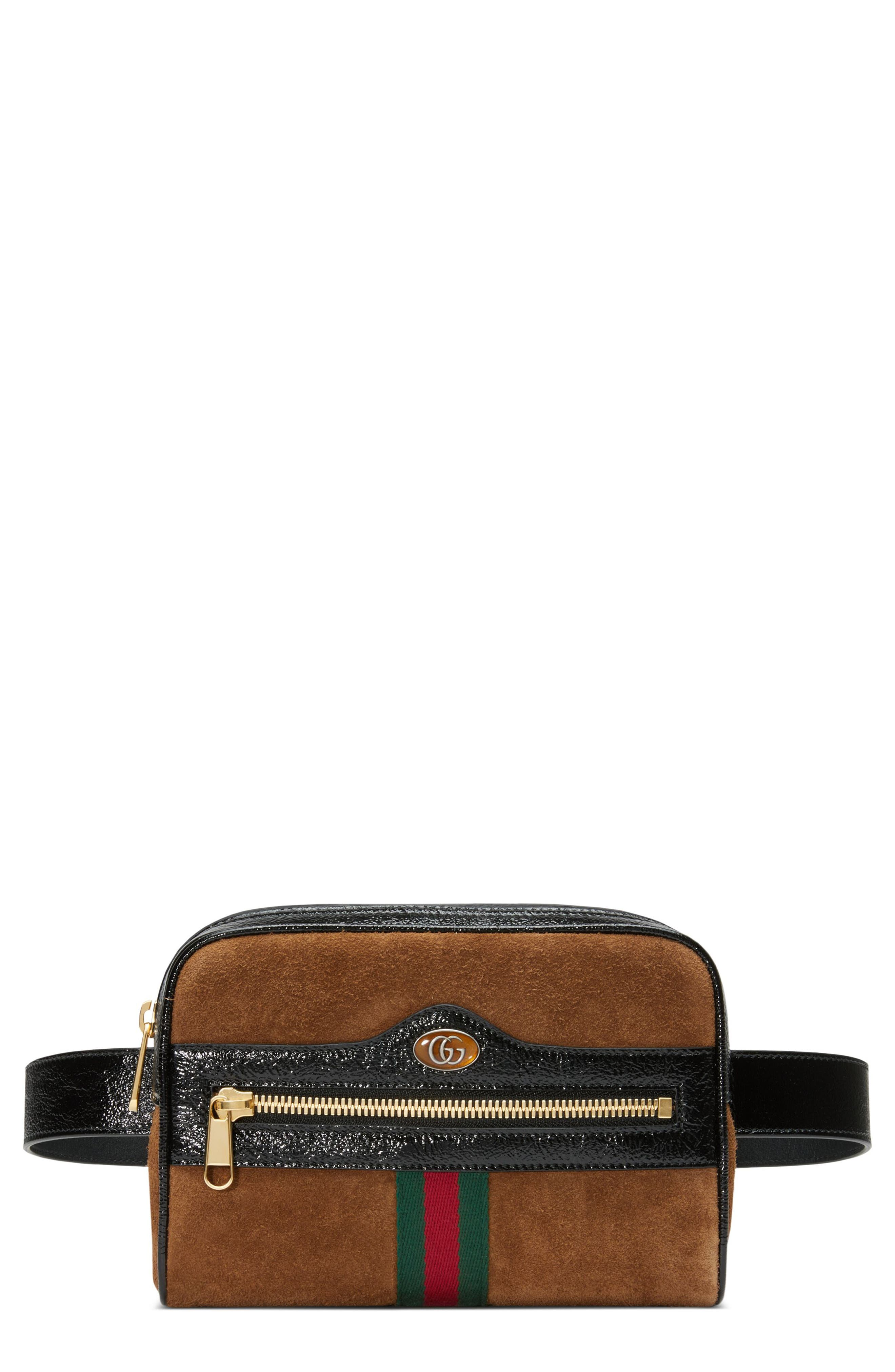 Ophidia Small Suede Belt Bag,                         Main,                         color, NOCCIOLA/ NERO/ VERT RED