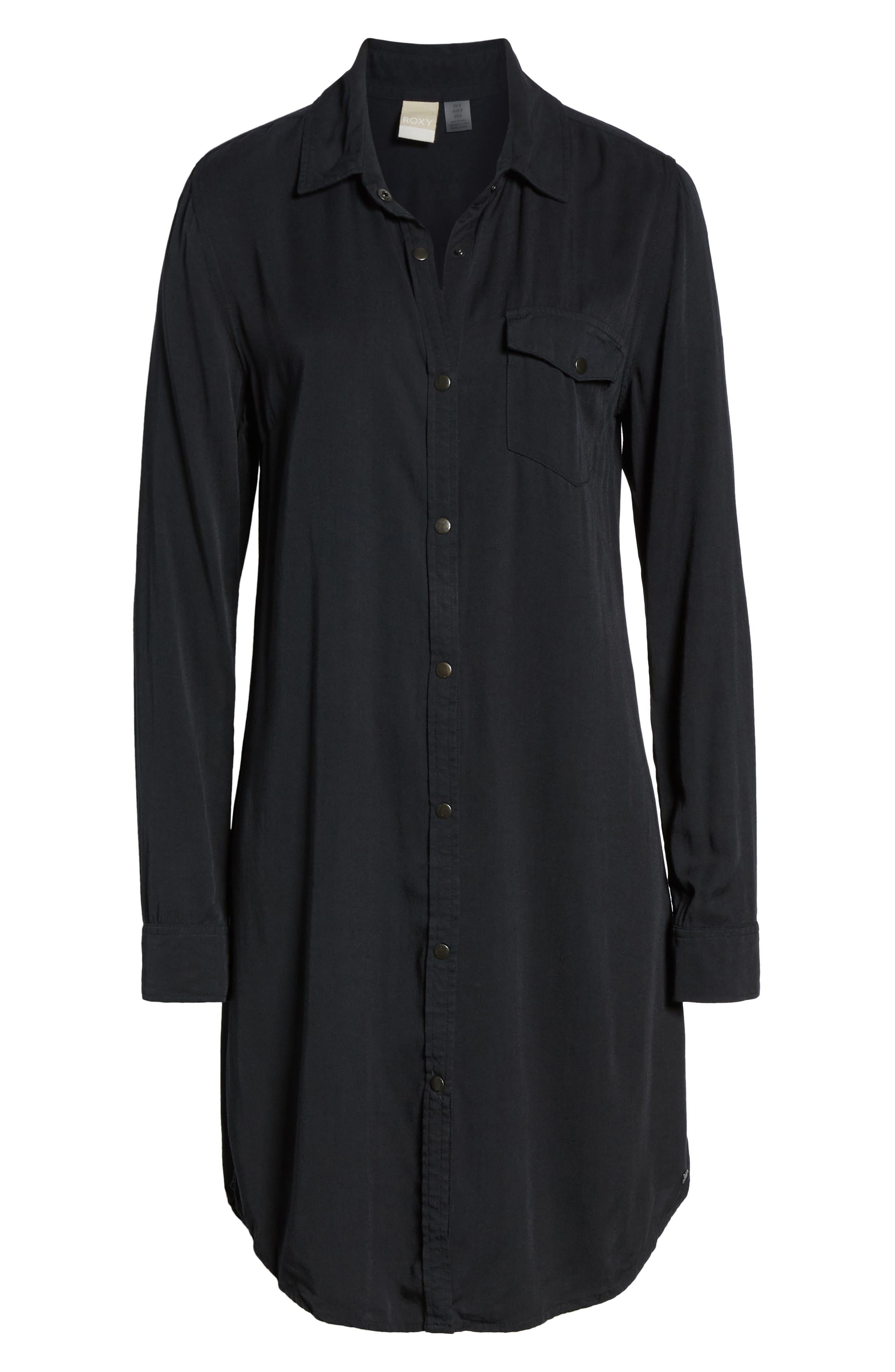 Tomini Bay View Shirtdress,                             Alternate thumbnail 7, color,                             TRUE BLACK