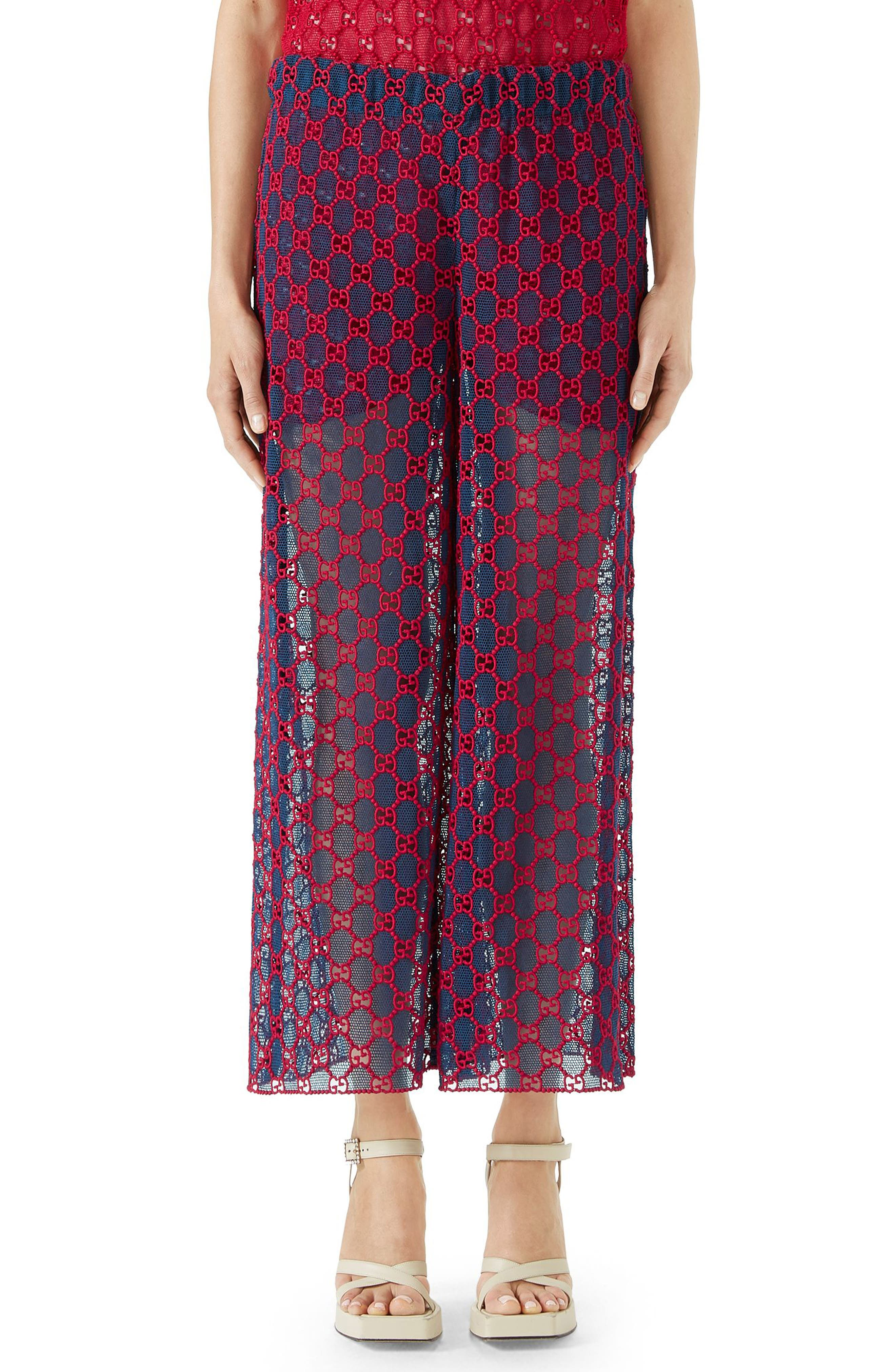 GG Macramé Wide Leg Pants,                         Main,                         color, ROYAL BLUETTE/ HEATHER RED