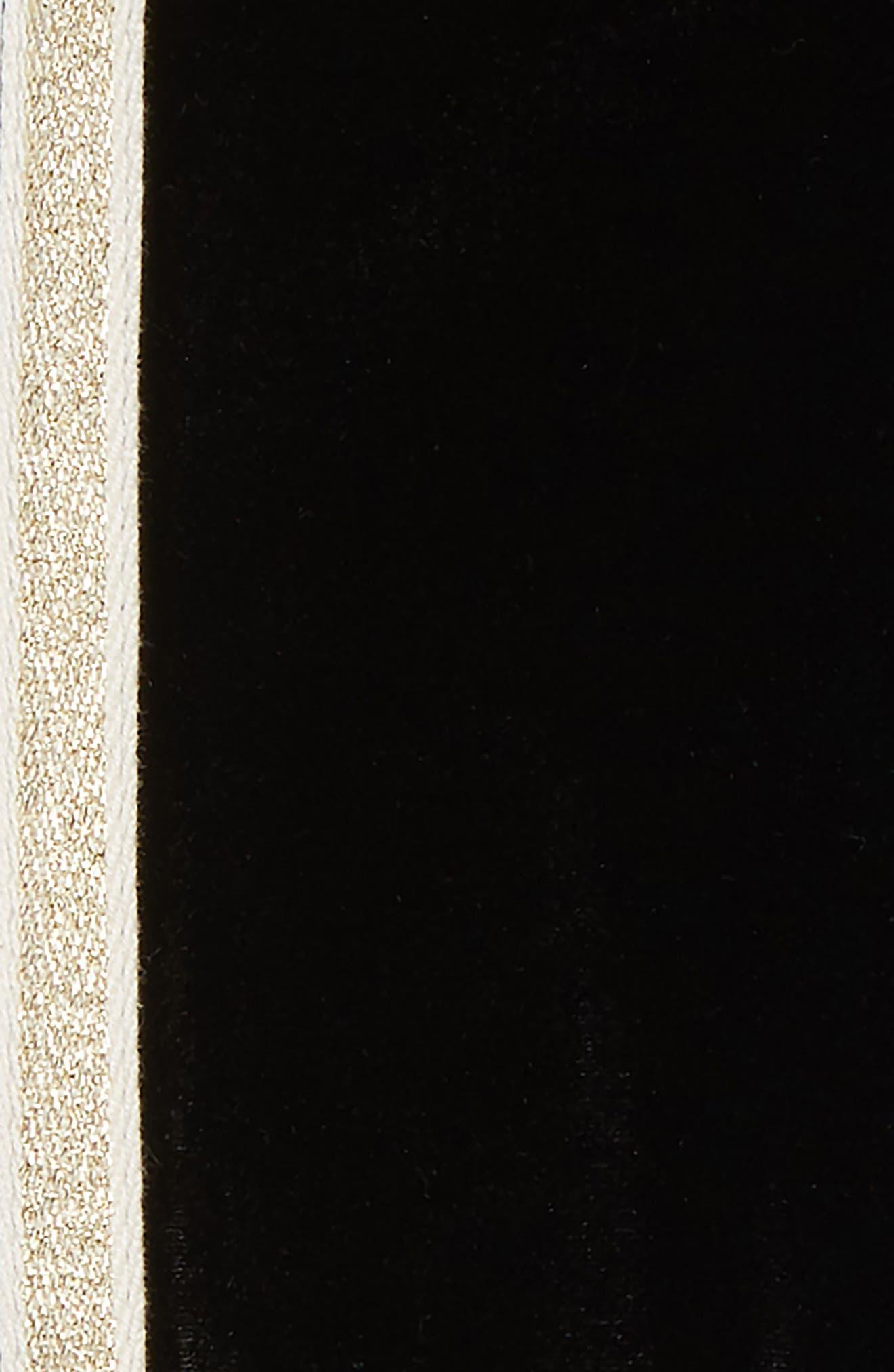 Velvet Side Stripe Leggings,                             Alternate thumbnail 2, color,                             BLACK