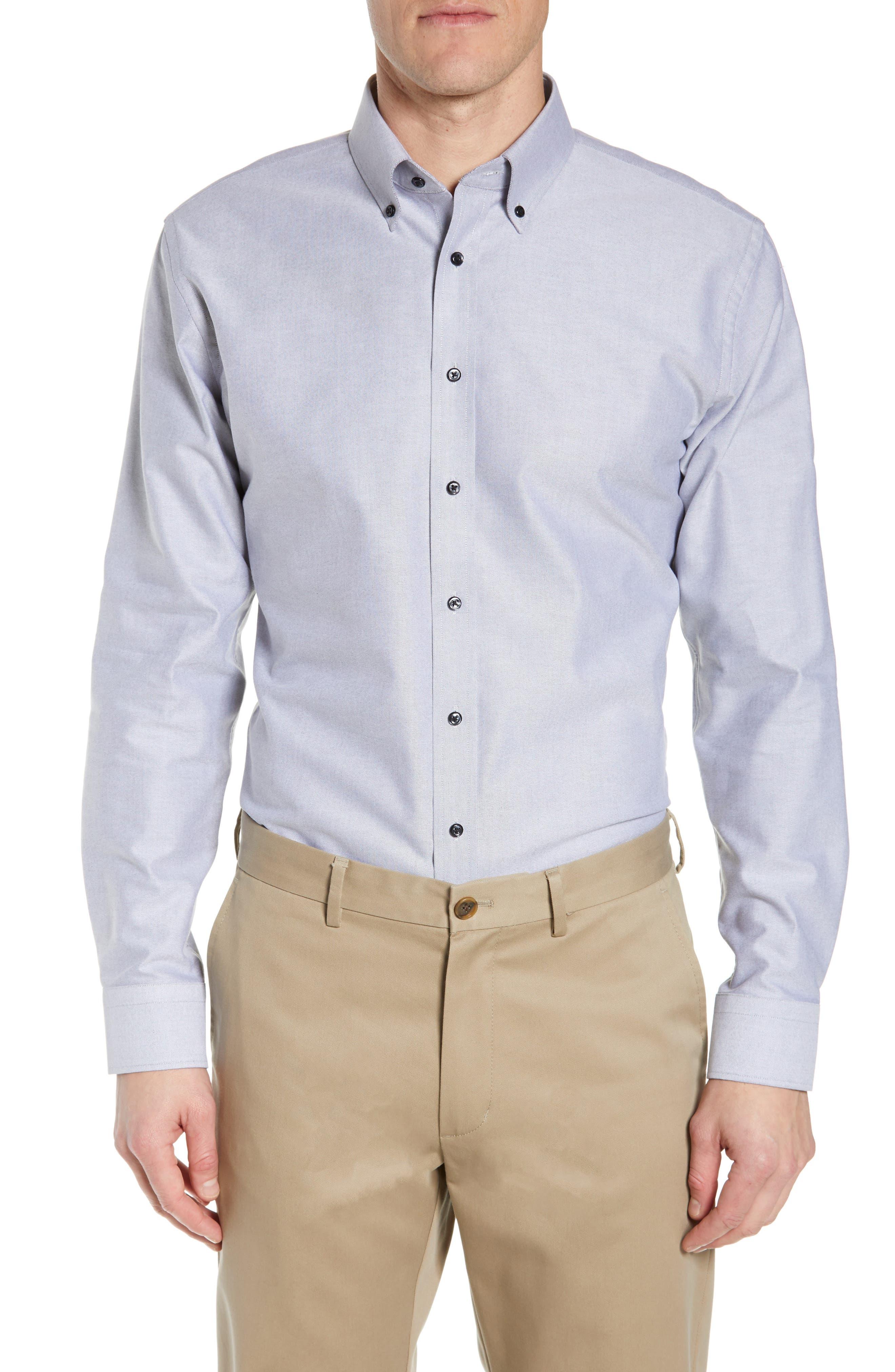 Trim Fit Oxford Dress Shirt, Main, color, GREY FEATHER