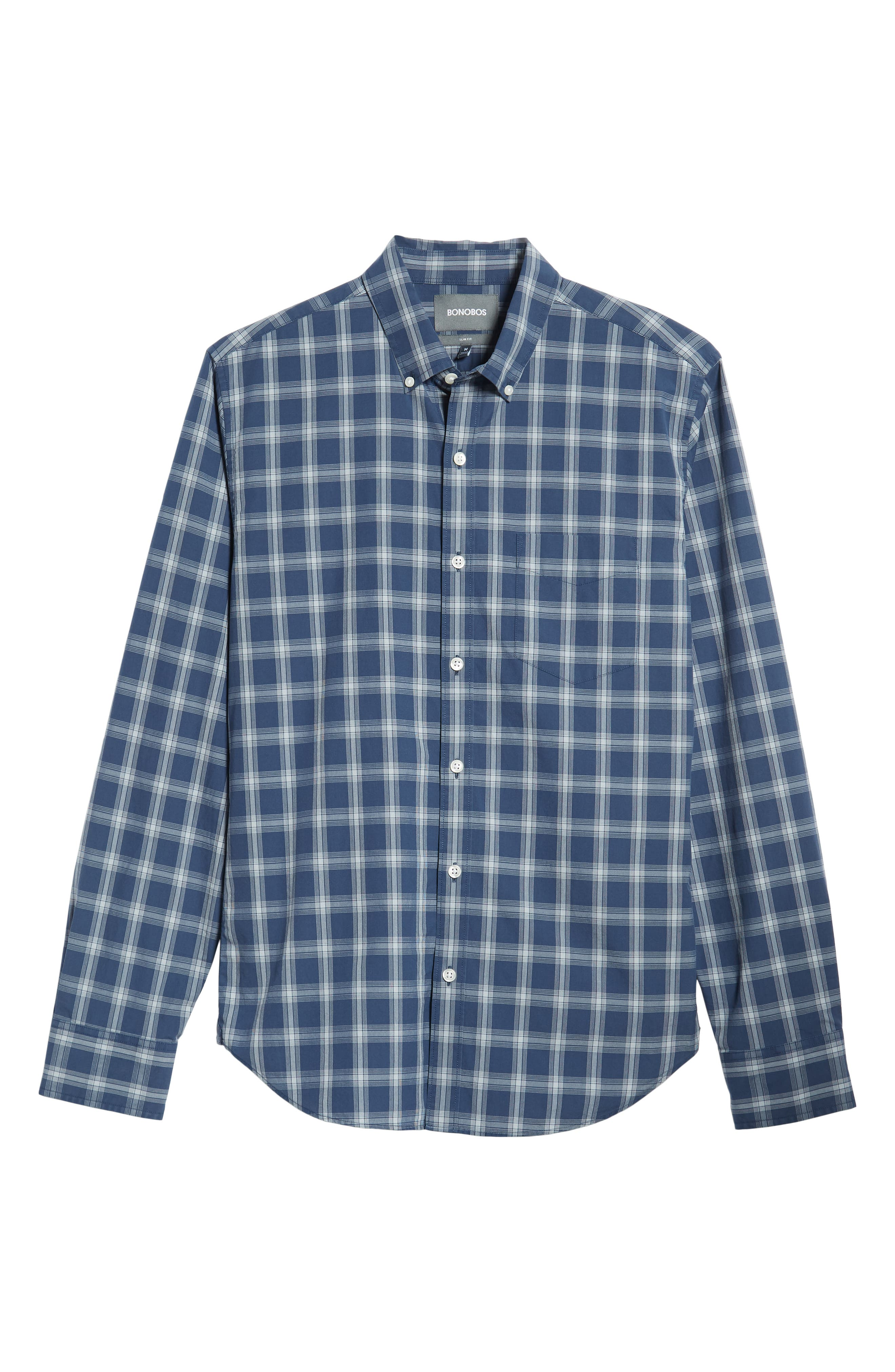 Washed Button Down Slim Fit Plaid Sport Shirt,                             Alternate thumbnail 5, color,                             ARID BLUE