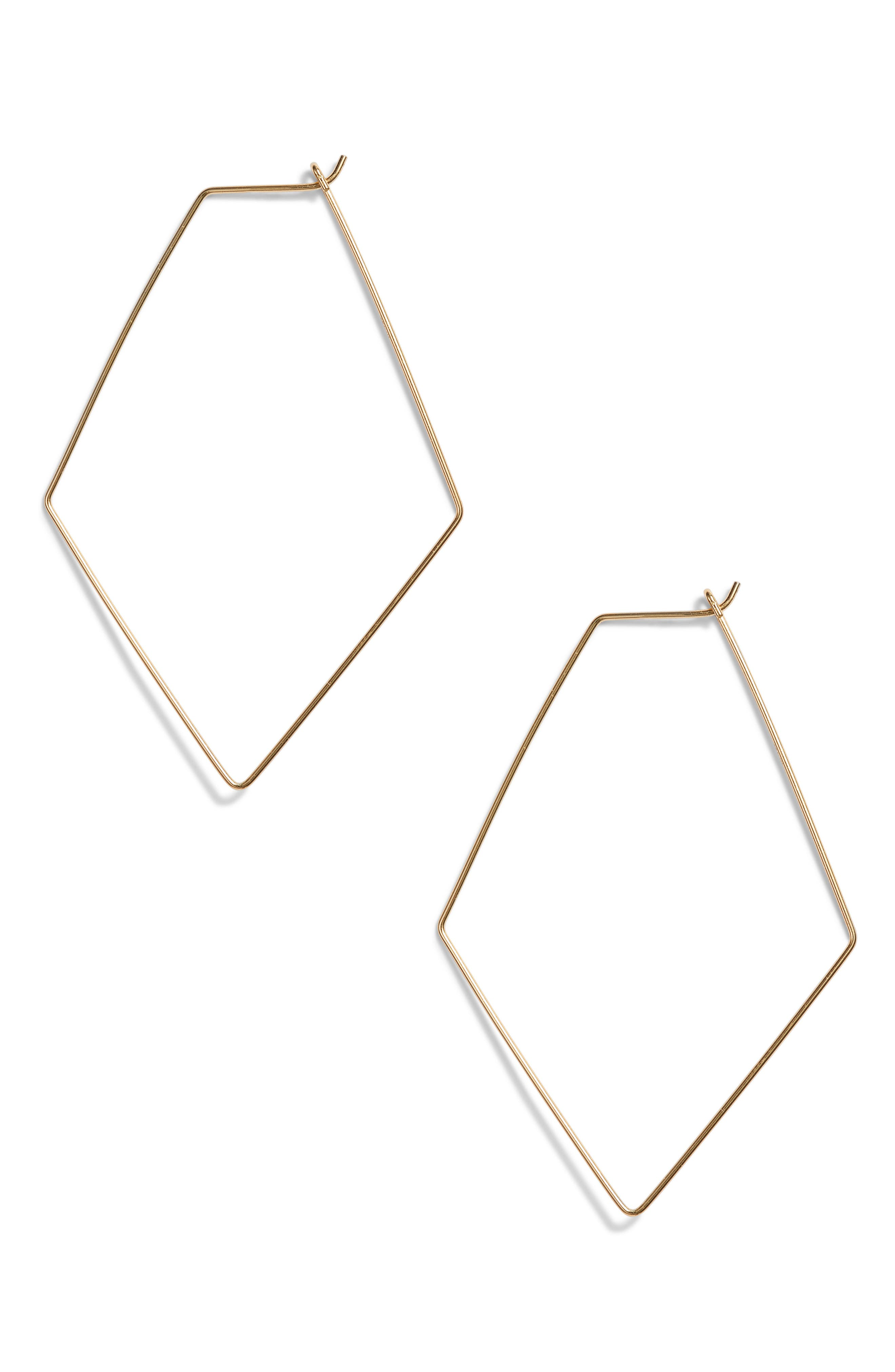 Rhombus Hoop Earrings,                             Main thumbnail 1, color,                             GOLD