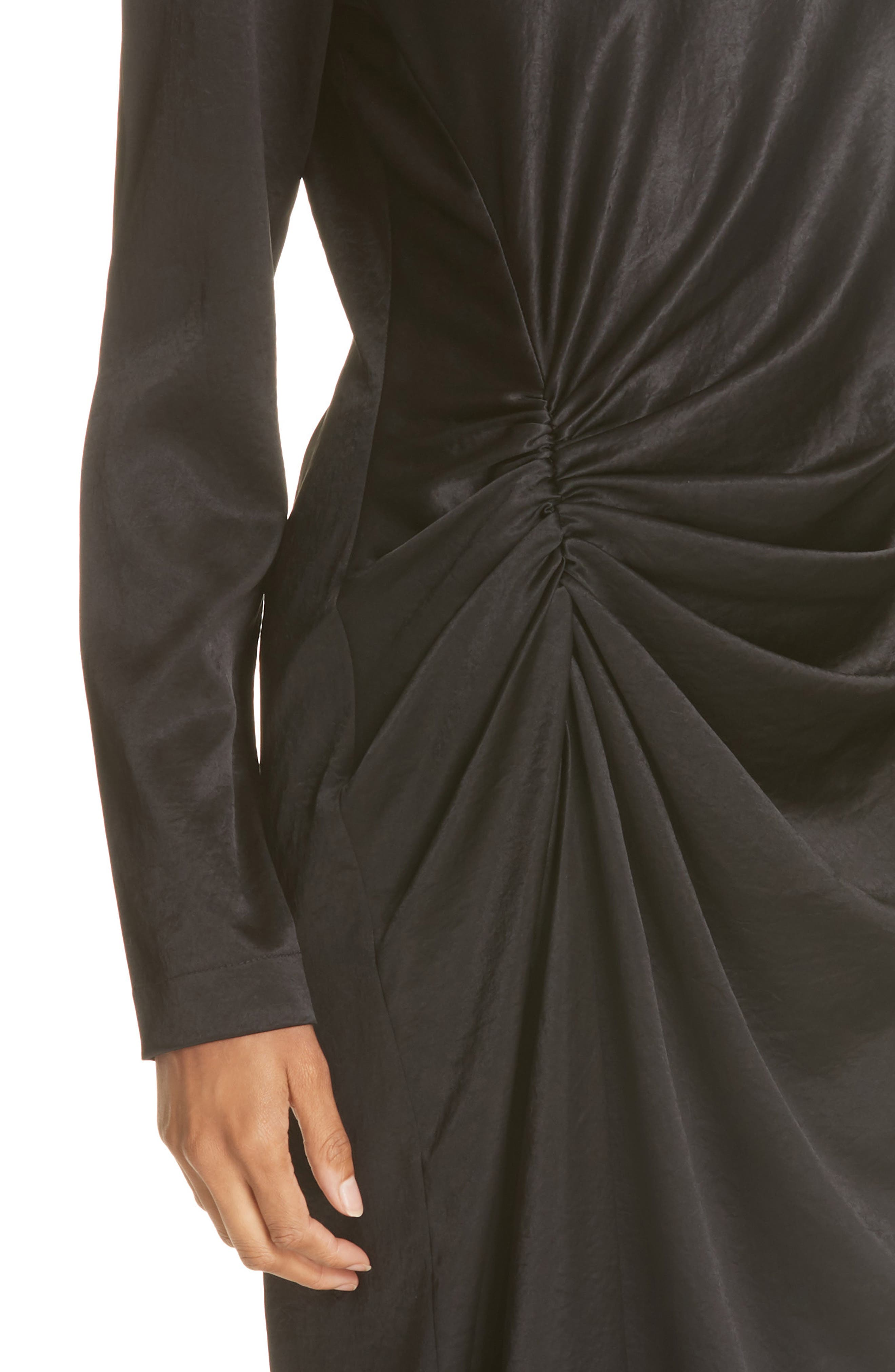 Ruched Crinkle Satin Dress,                             Alternate thumbnail 4, color,                             001