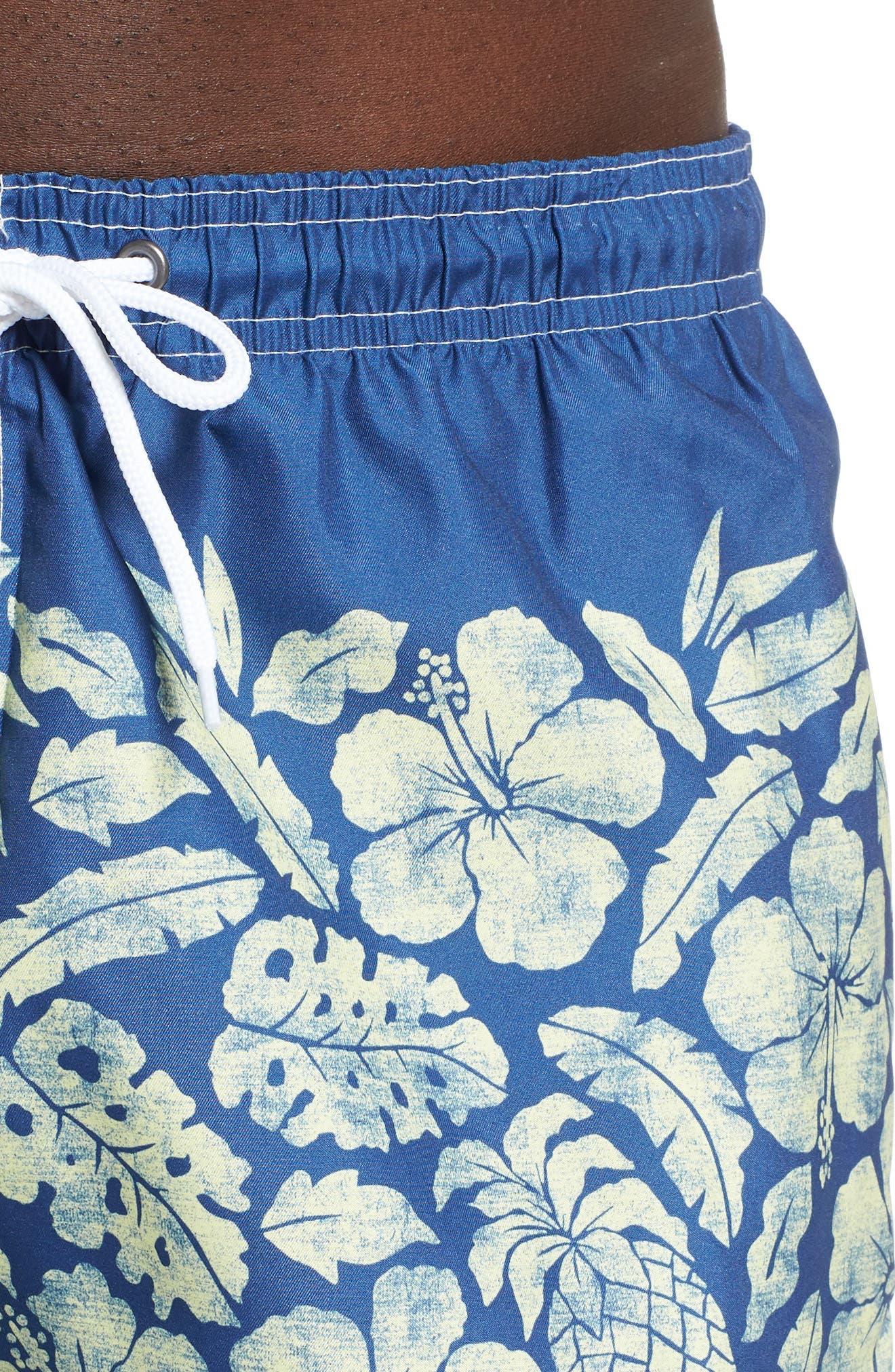 Placement Print Sano Swim Shorts,                             Alternate thumbnail 4, color,                             PINEAPPLE BORDER