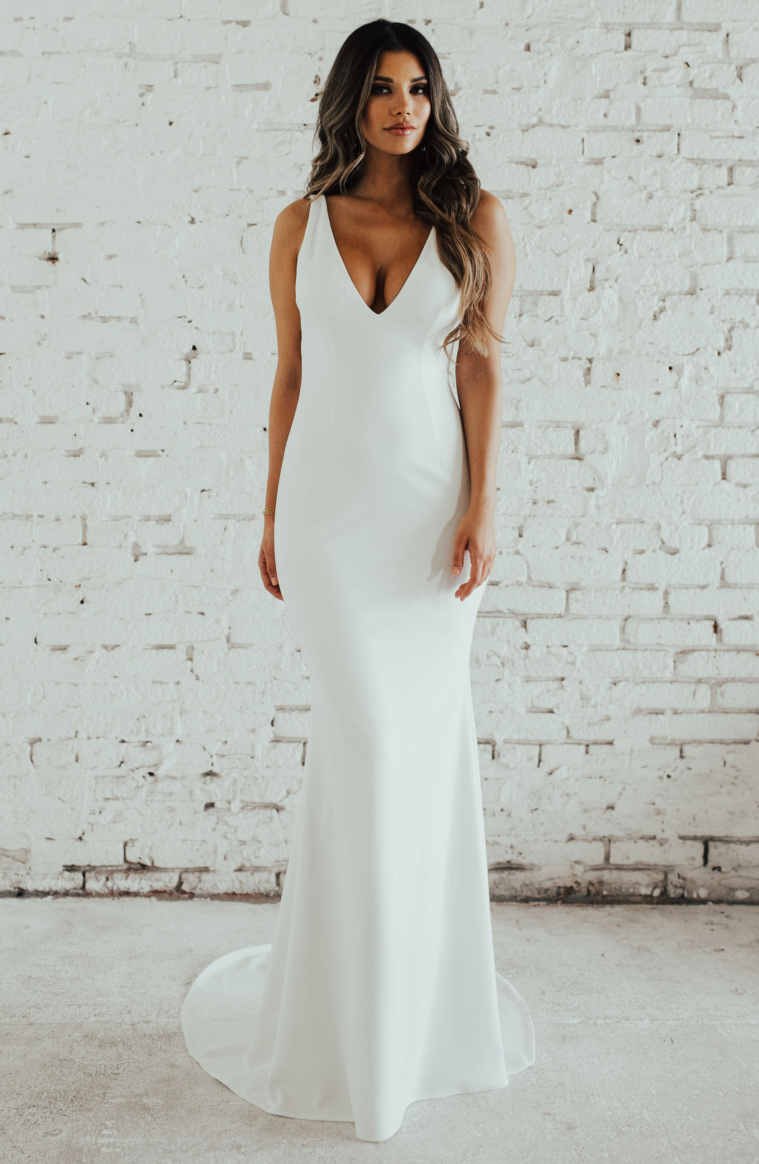 Paloma Plunge Back Trumpet Gown,                         Main,                         color, IVORY