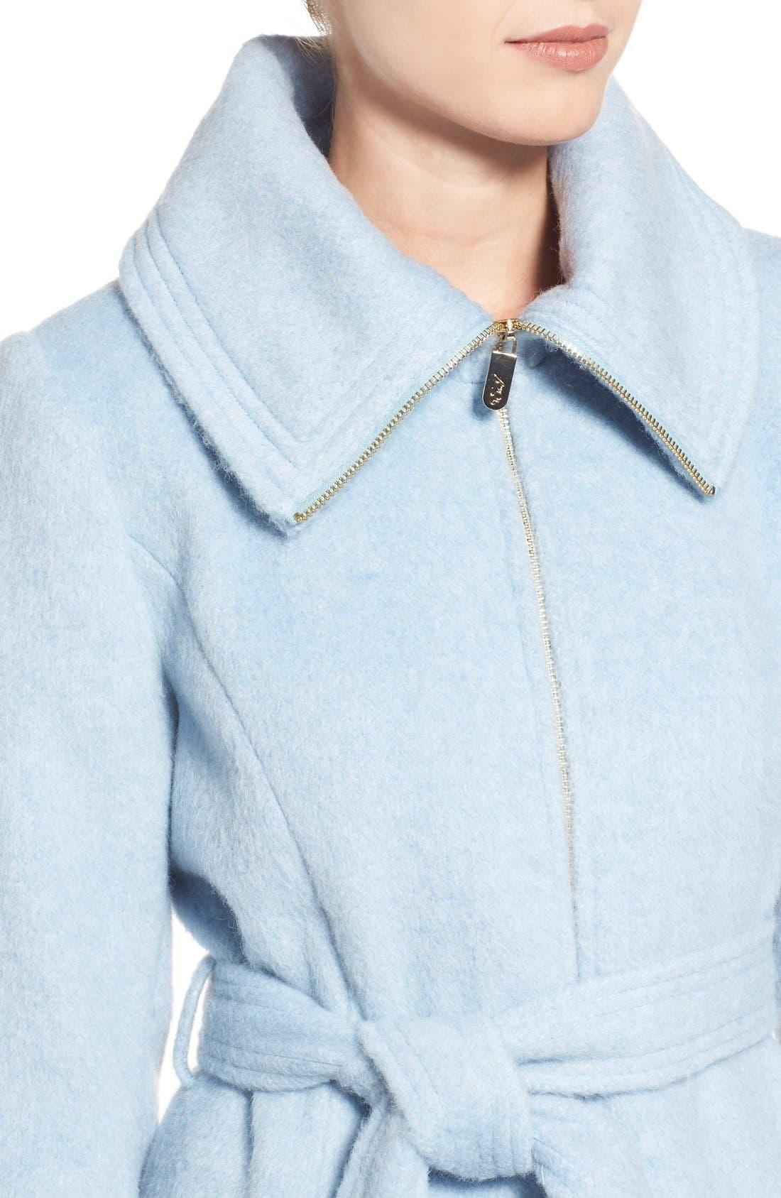 Brushed Wool Blend Fit & Flare Coat,                             Alternate thumbnail 4, color,