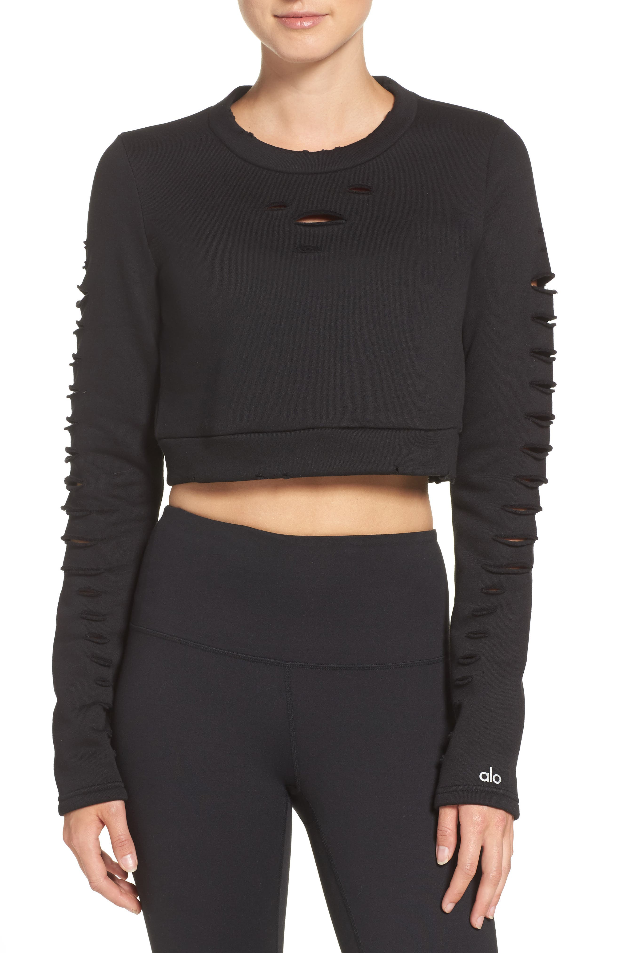 Ripped Warrior Crop Top,                         Main,                         color, 001