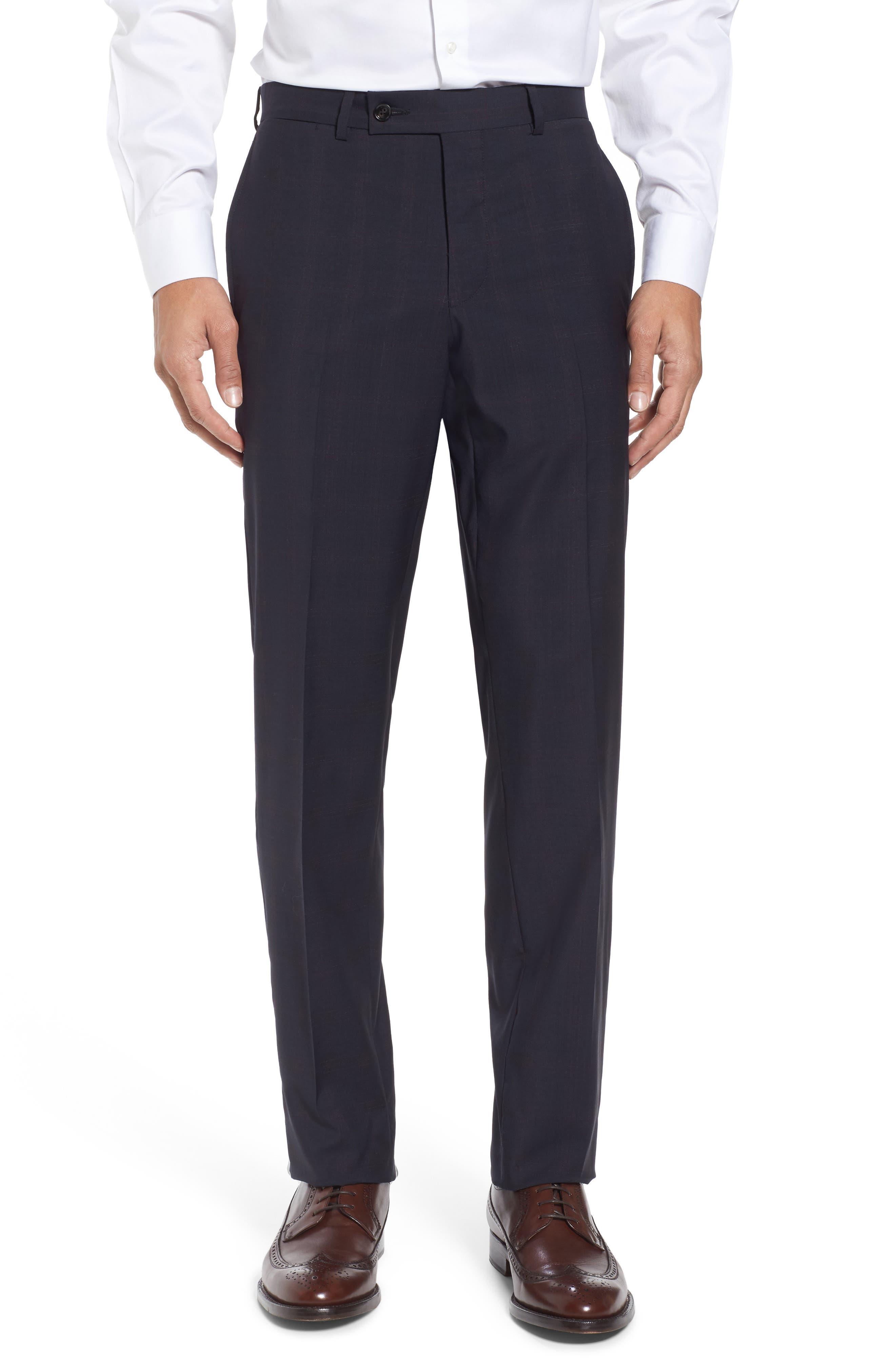 Jay Trim Fit Plaid Wool Suit,                             Alternate thumbnail 6, color,                             001