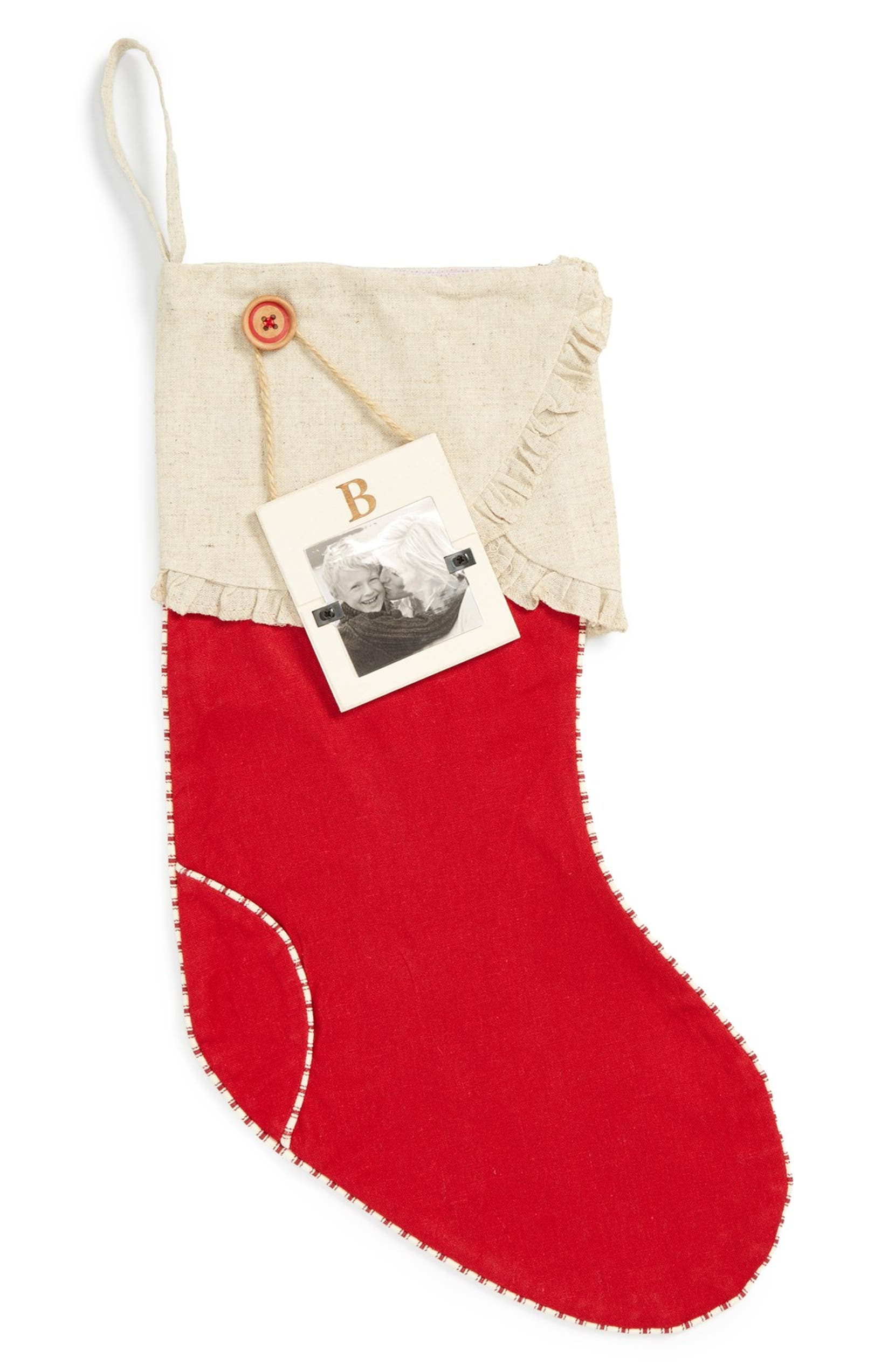 Mud Pie Linen Christmas Stocking & Initial Frame Ornament   Nordstrom