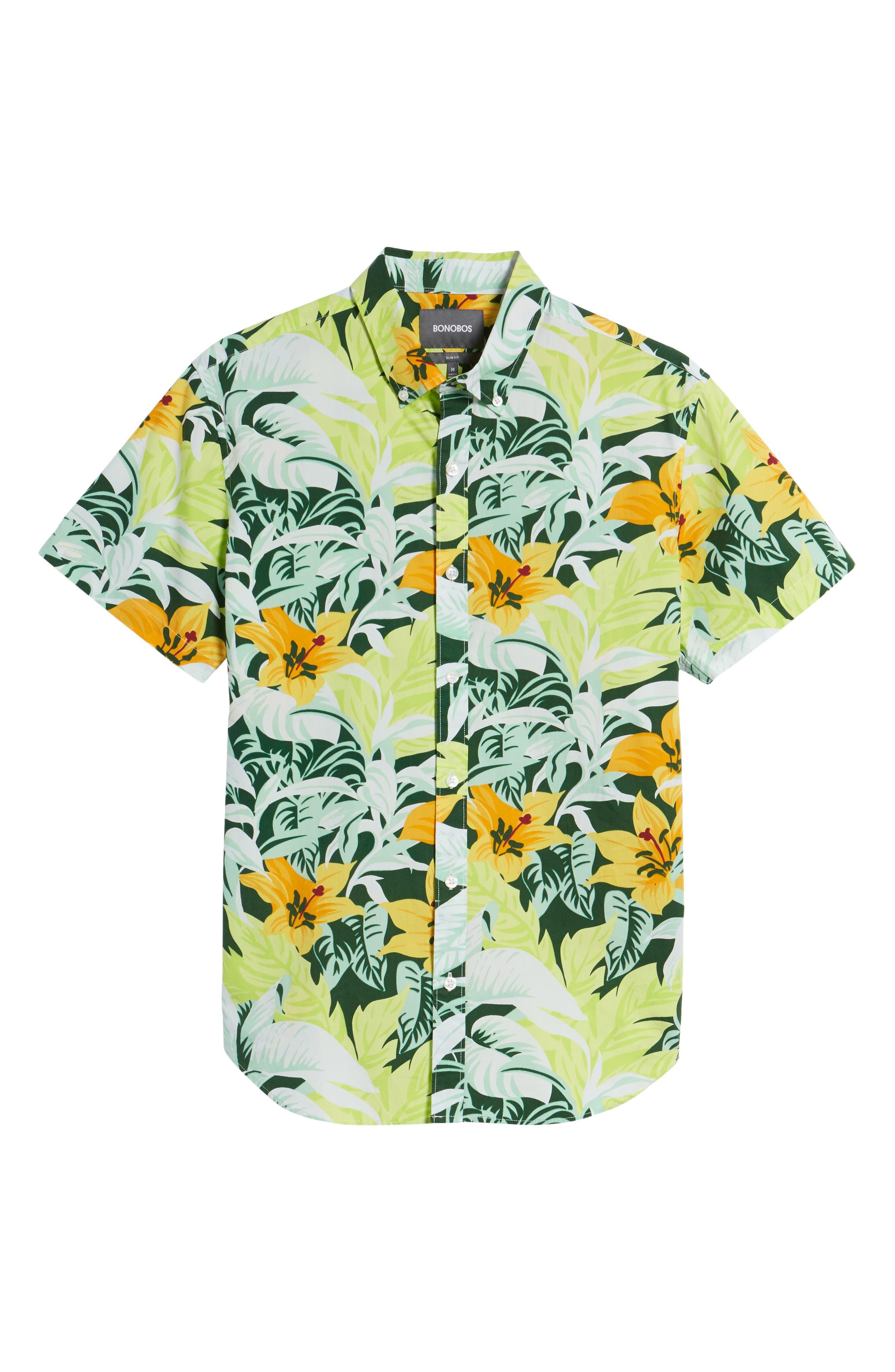 Slim Fit Tropical Sport Shirt,                             Alternate thumbnail 6, color,                             100