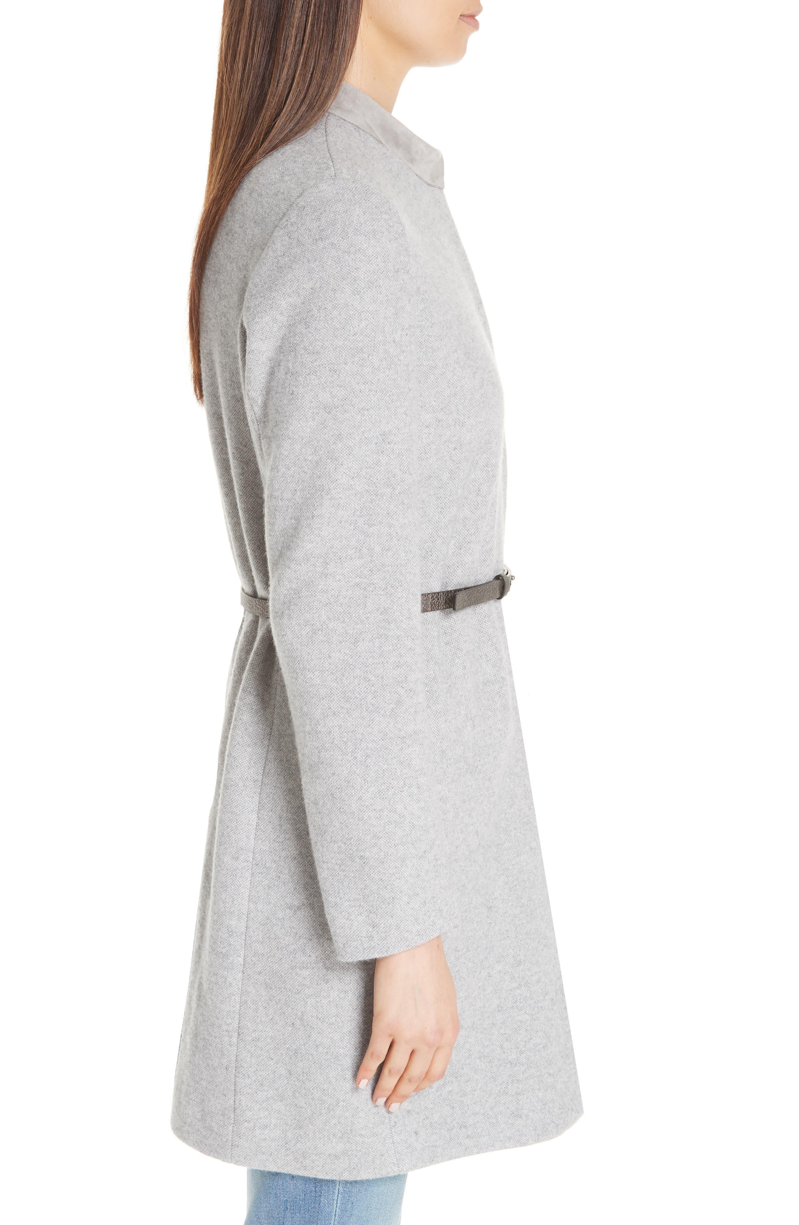FABIANA FILIPPI,                             Suede Trim Tweed Jacket,                             Alternate thumbnail 3, color,                             GREY