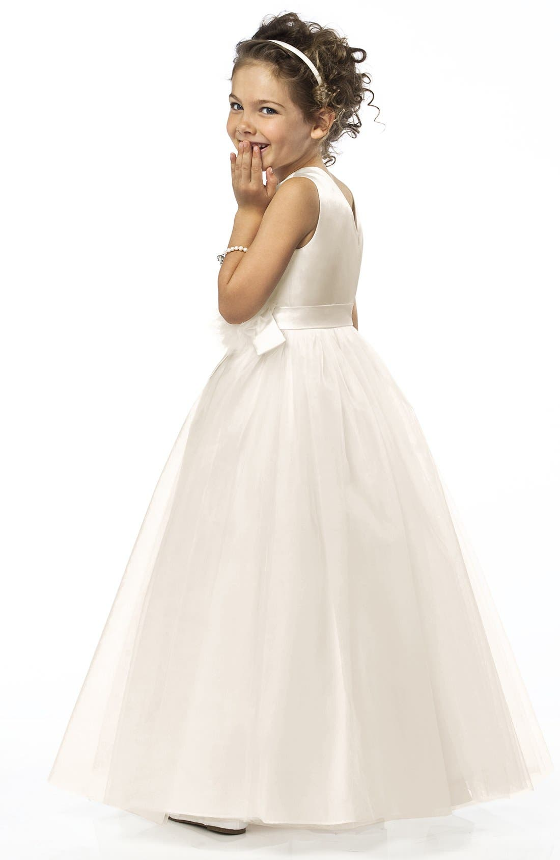Sleeveless Satin & Tulle Flower Girl Dress,                             Alternate thumbnail 2, color,                             900