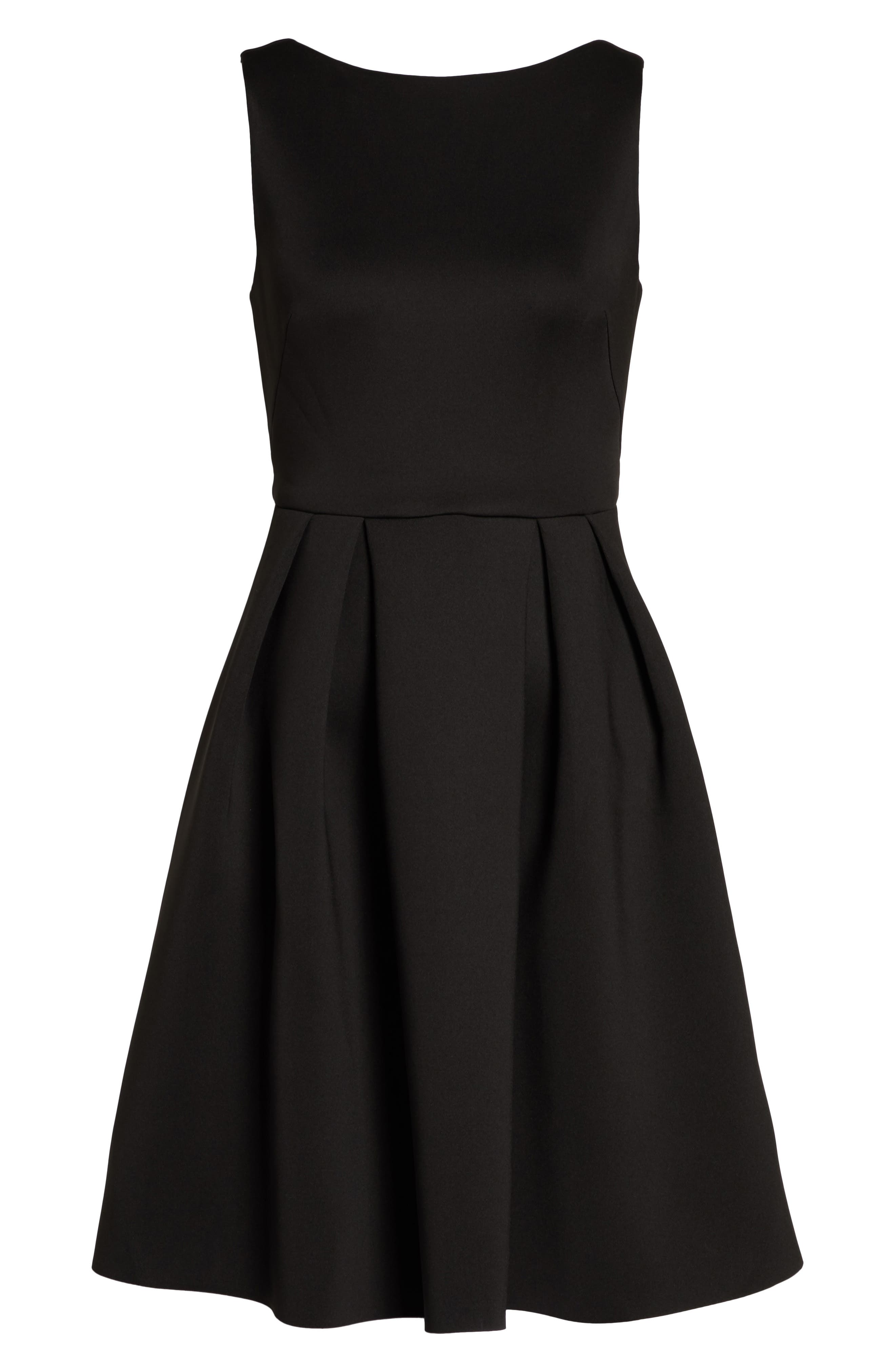 Fit & Flare Scuba Dress,                             Alternate thumbnail 7, color,                             001