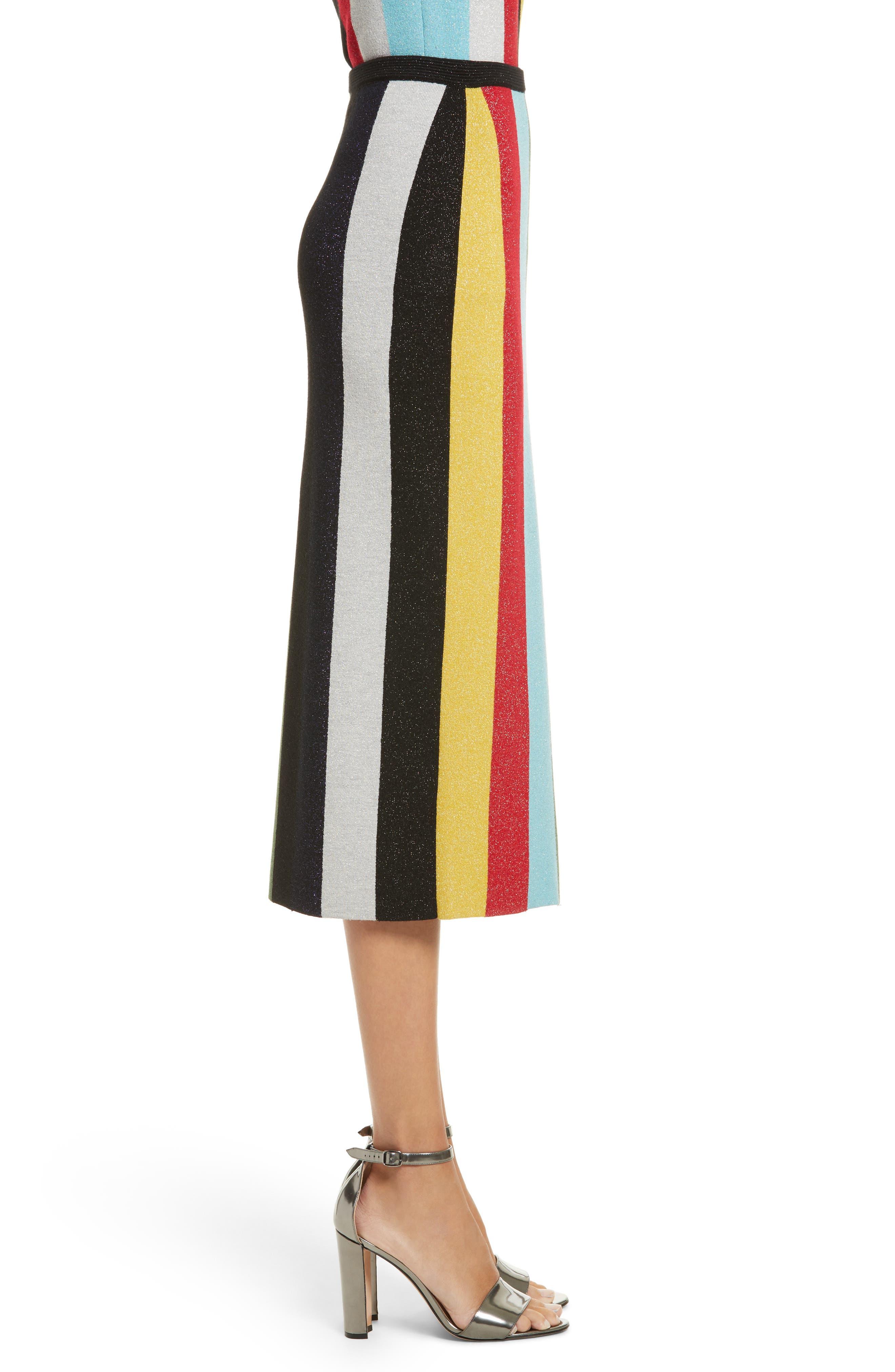 Metallic Stripe Knit Pencil Skirt,                             Alternate thumbnail 3, color,                             008